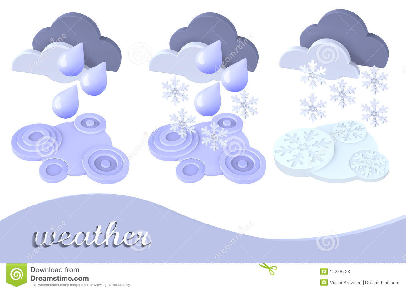 Weather Symbol Snow Rain Cloud Stock Illustration Illustration
