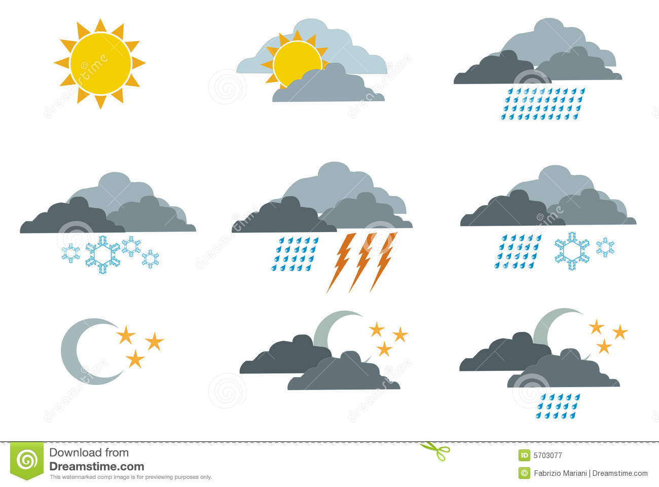 Weather symbols 1 stock vector. Image of cold, colorful ...
