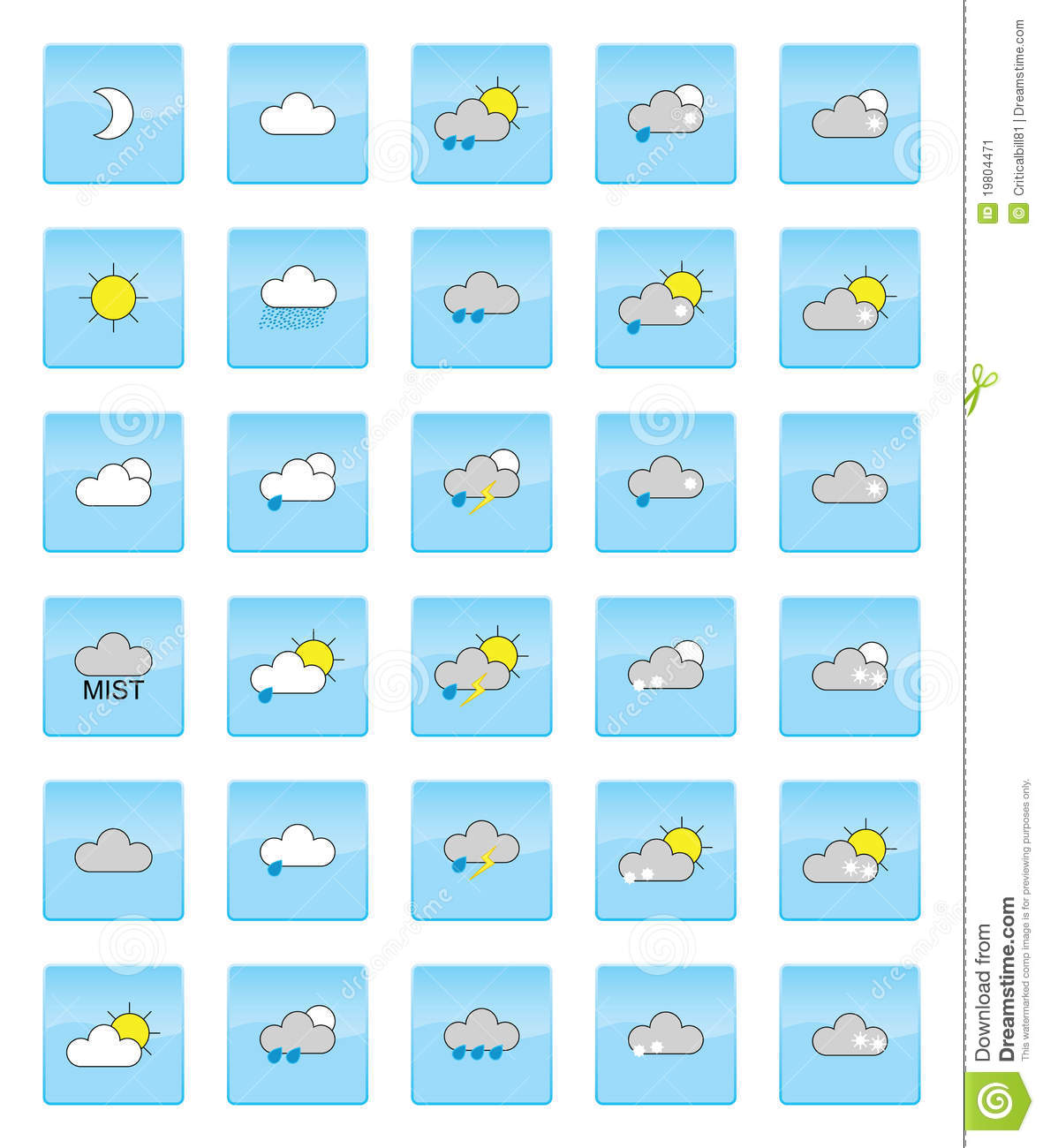 Weather Symbols Stock Illustration Illustration Of Snowing 19804471
