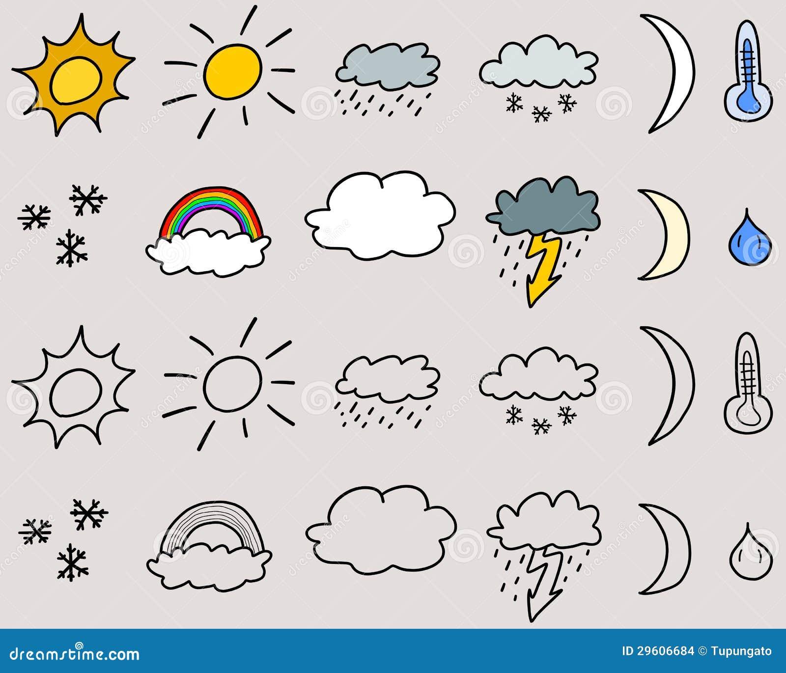 Weather Symbols Stock Vector Illustration Of Rain Lightning 29606684