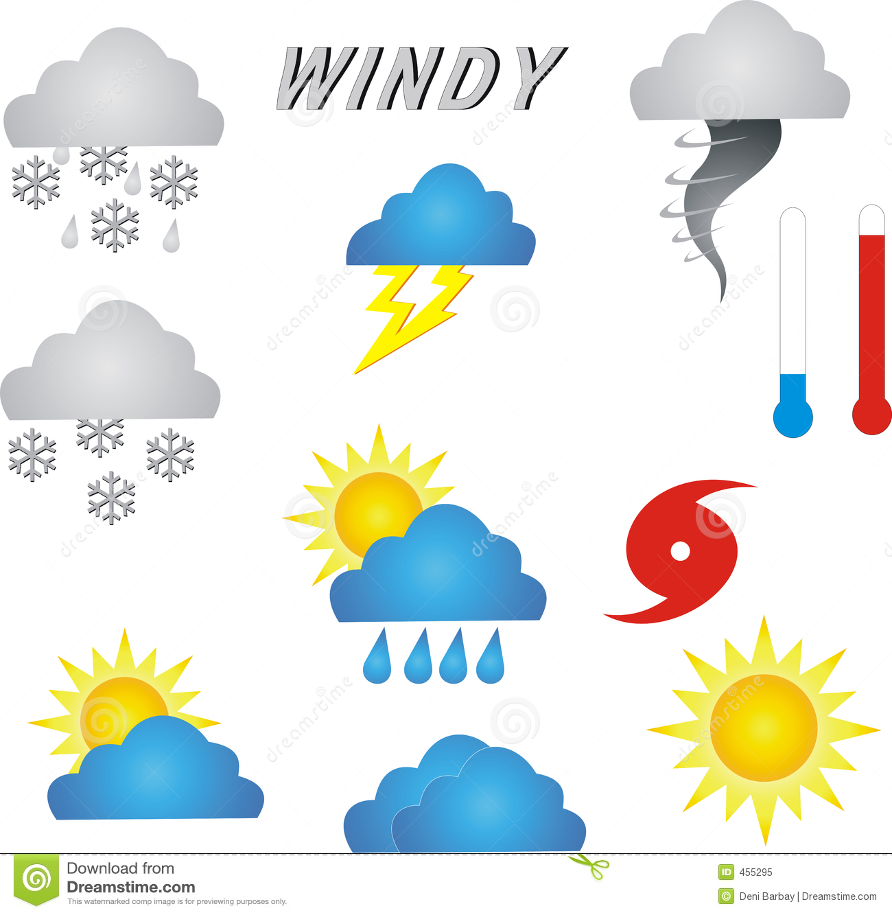 Tornado Symbol On Weather Map.Weather Symbols Stock Illustration Illustration Of Temperature 455295