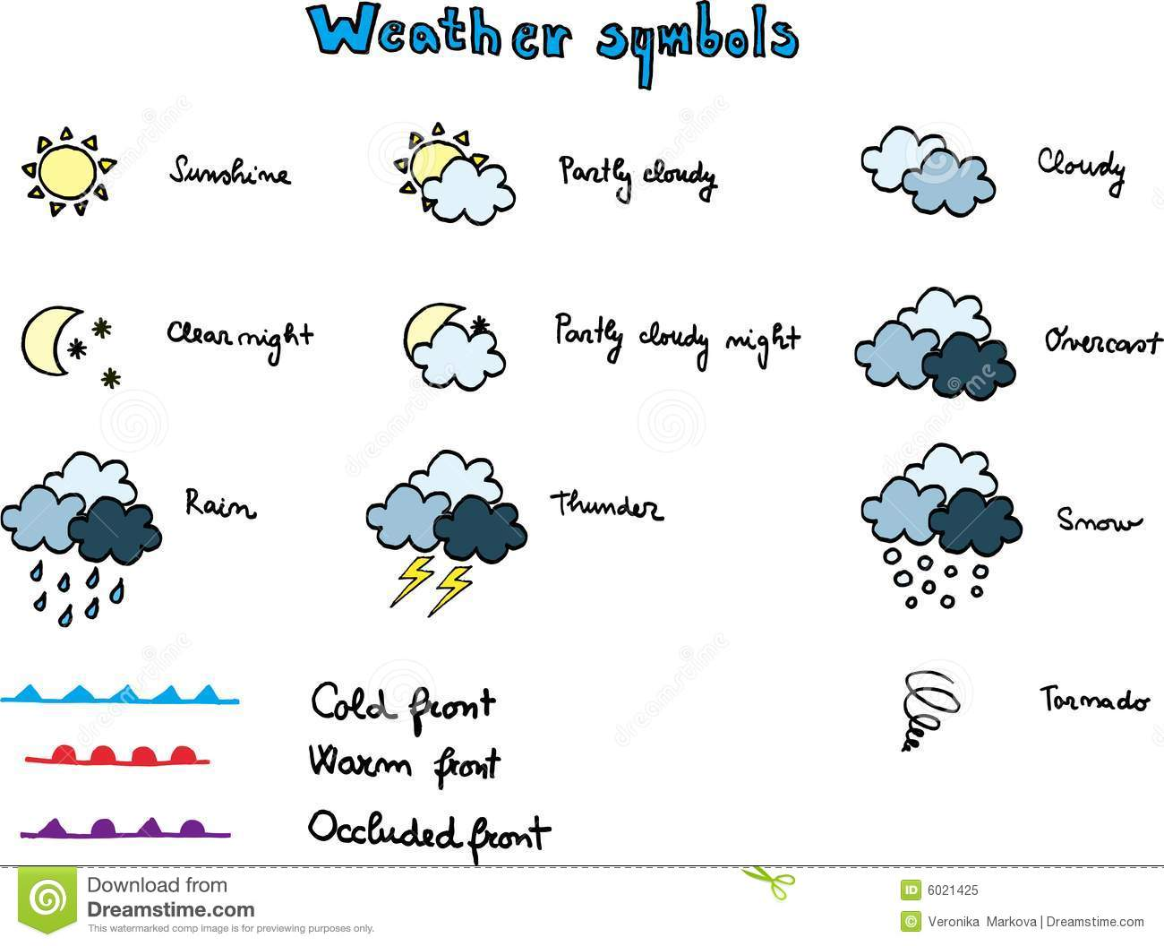 Tornado Symbol On Weather Map.Weather Symbols Stock Vector Illustration Of Snow Cold 6021425