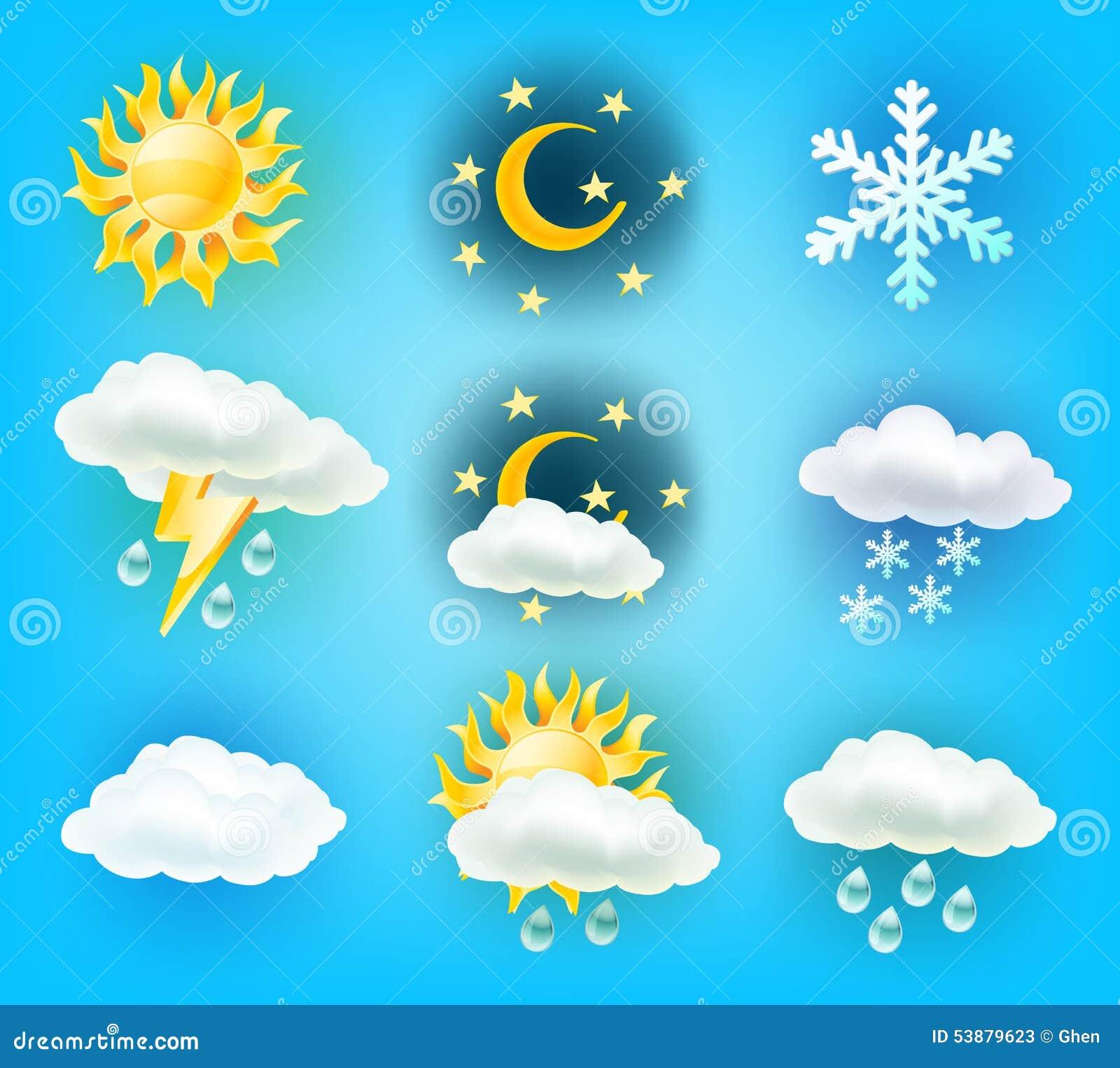 Weather Symbols Stock Vector Illustration Of Cloud Rain 53879623