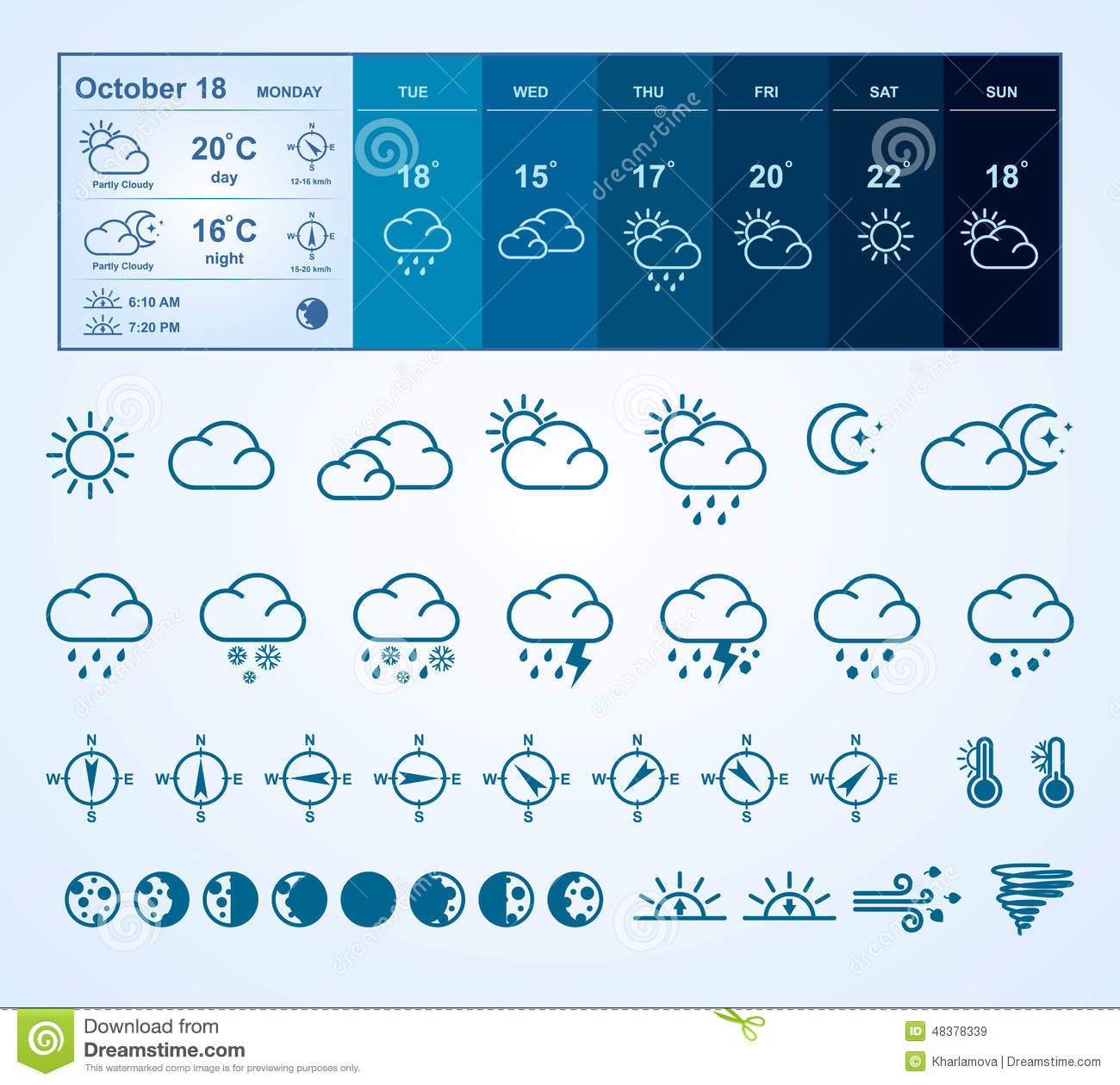 Weather widget and icons stock vector  Illustration of night - 48378339
