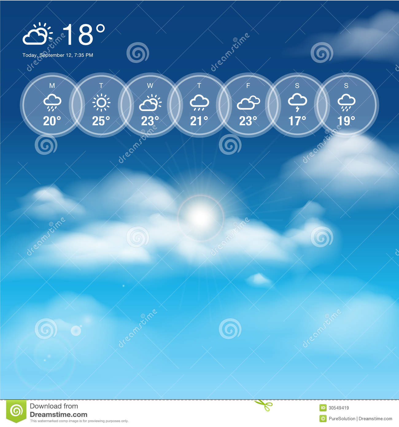 Weather Widget Template And Sky Theme Background Royalty