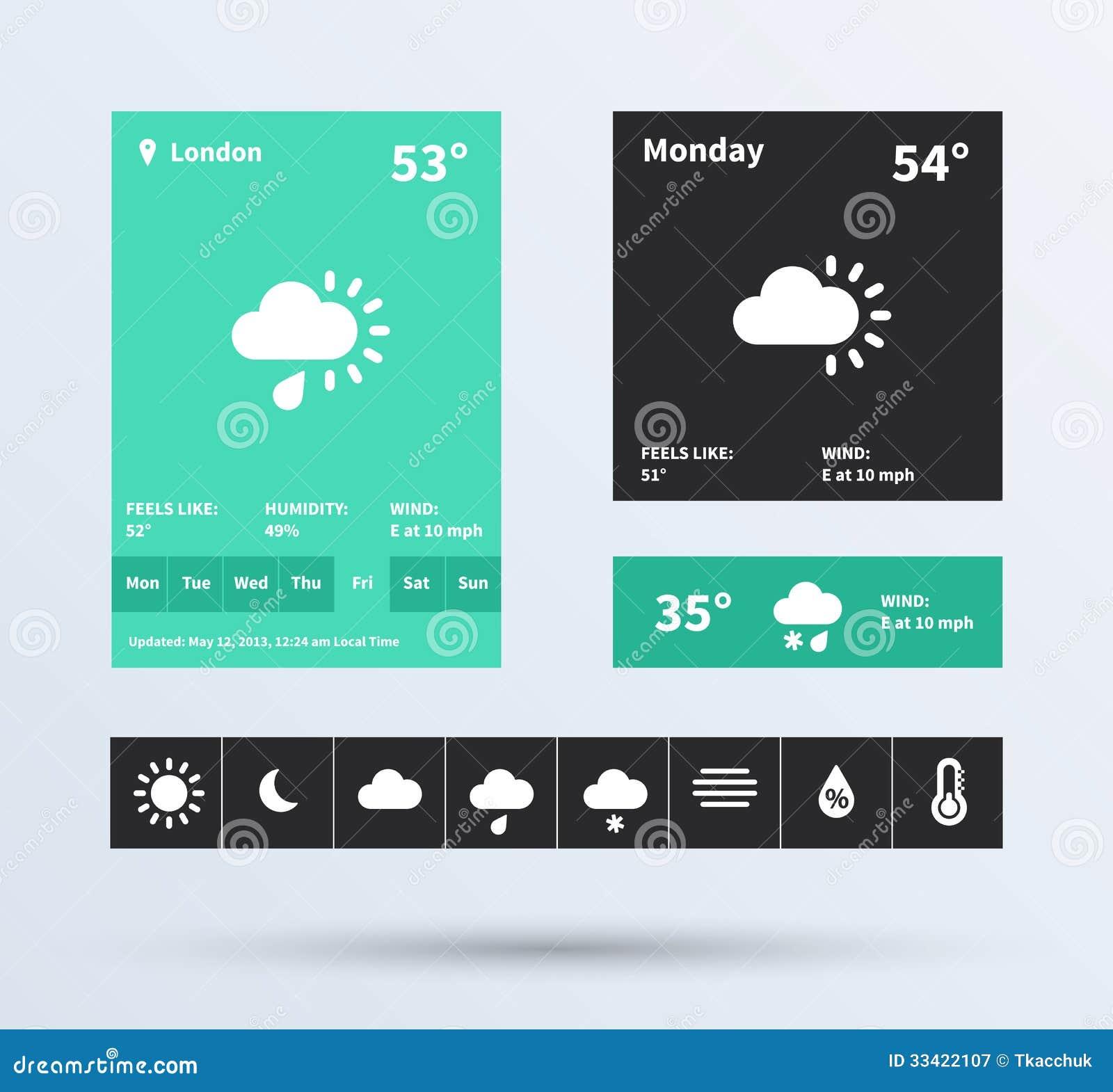 Weather Widget UI Set Of The Flat Design Trend  Stock Vector