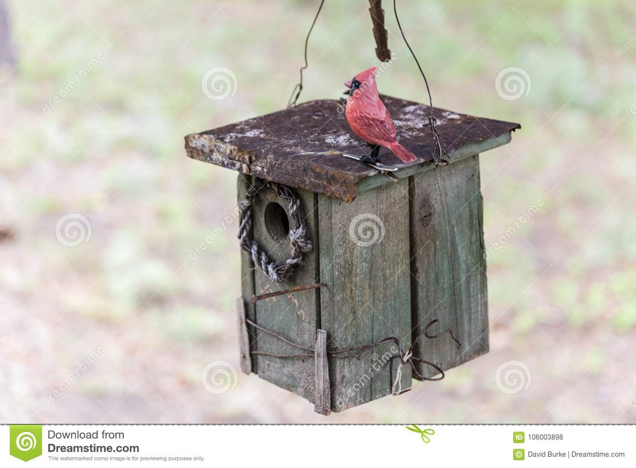 bird house ornaments Weathered Birdhouse Wooden Hanging Stock Photo Image Of