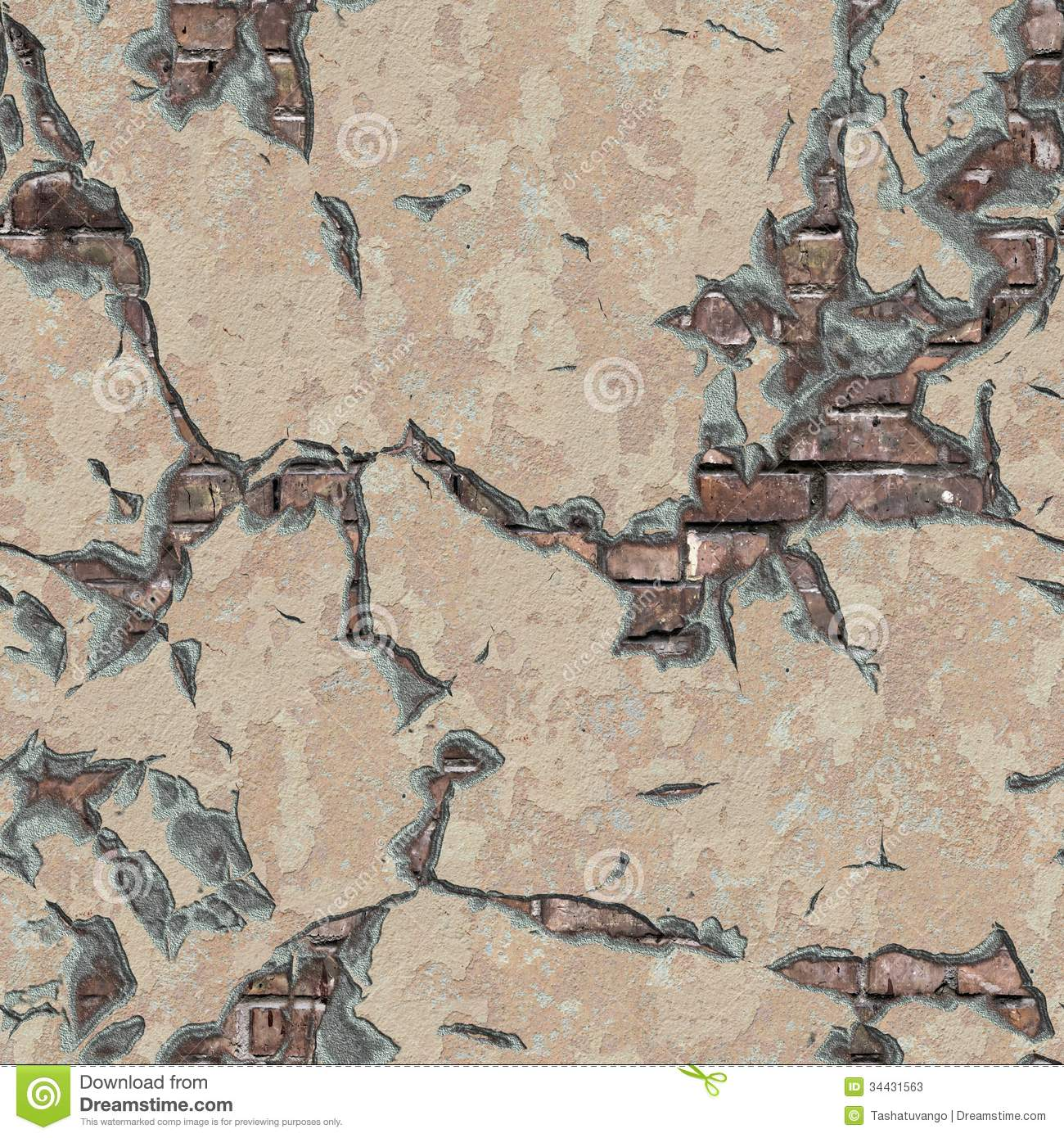 Weathered Brick Wall Seamless Tileable Texture Stock