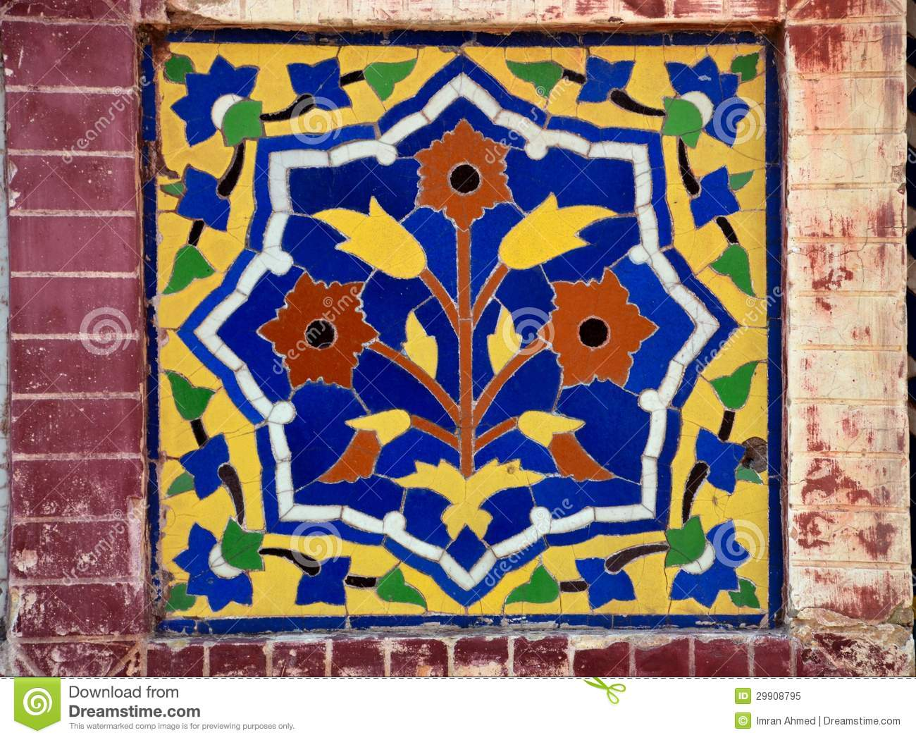 Floral ceramic mosaic from mosque stock image image of wazir blue floral ceramic mosaic from mosque dailygadgetfo Images