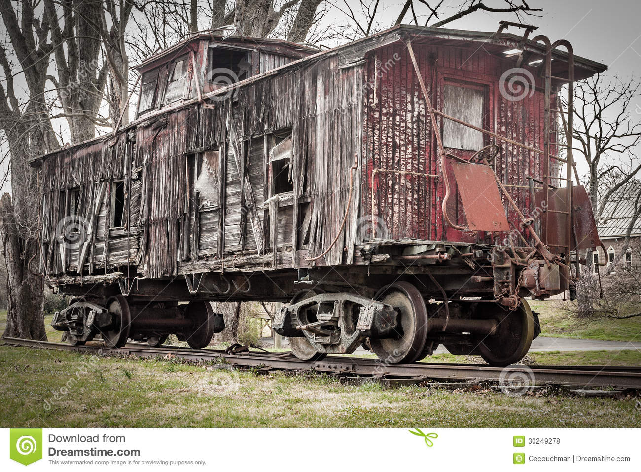 Old Weathered Caboose Stock Photo Image Of