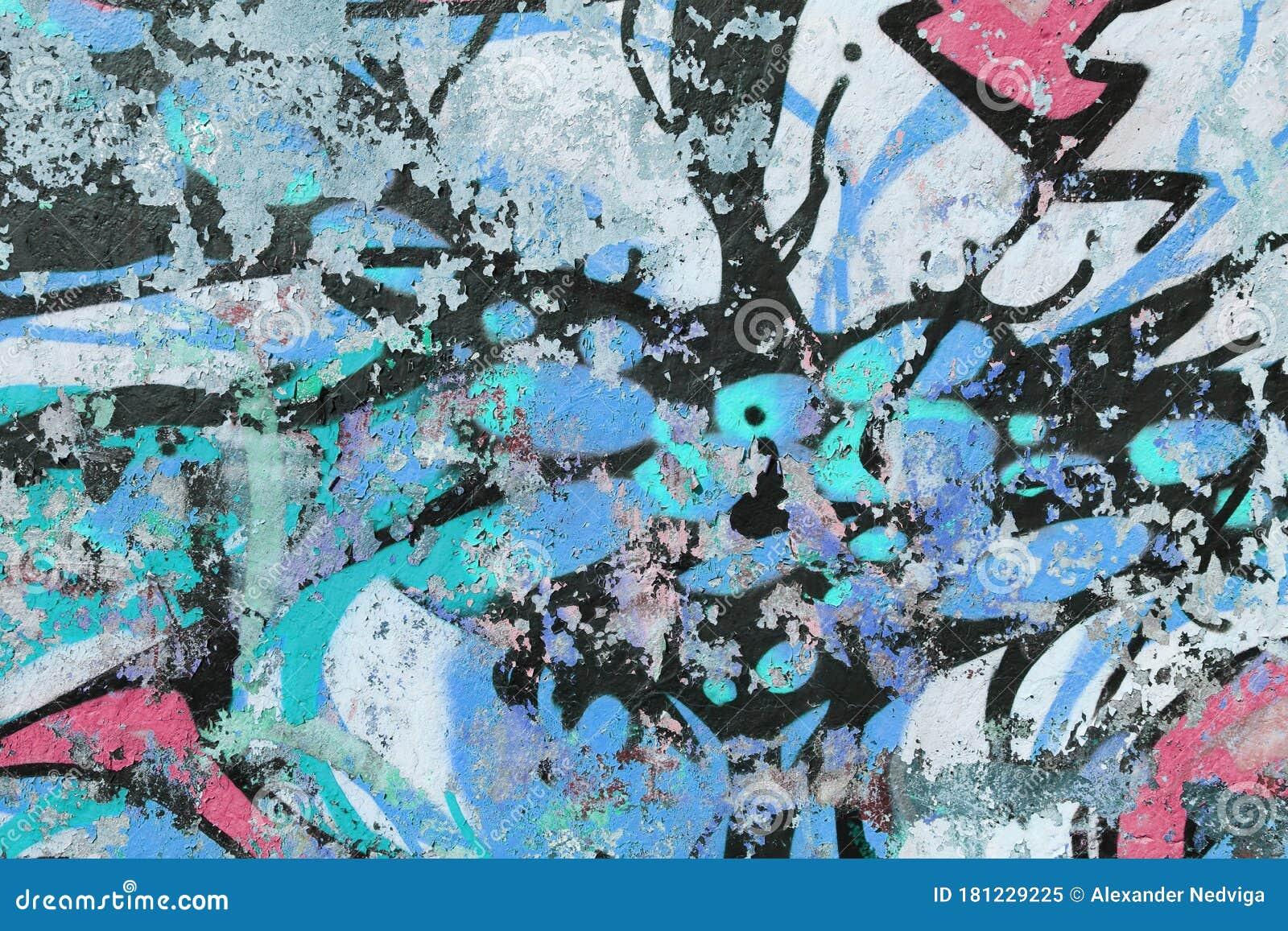 Fantastique Weathered Graffiti Wall. Urban Street Art Beauty. Texture AJ-12