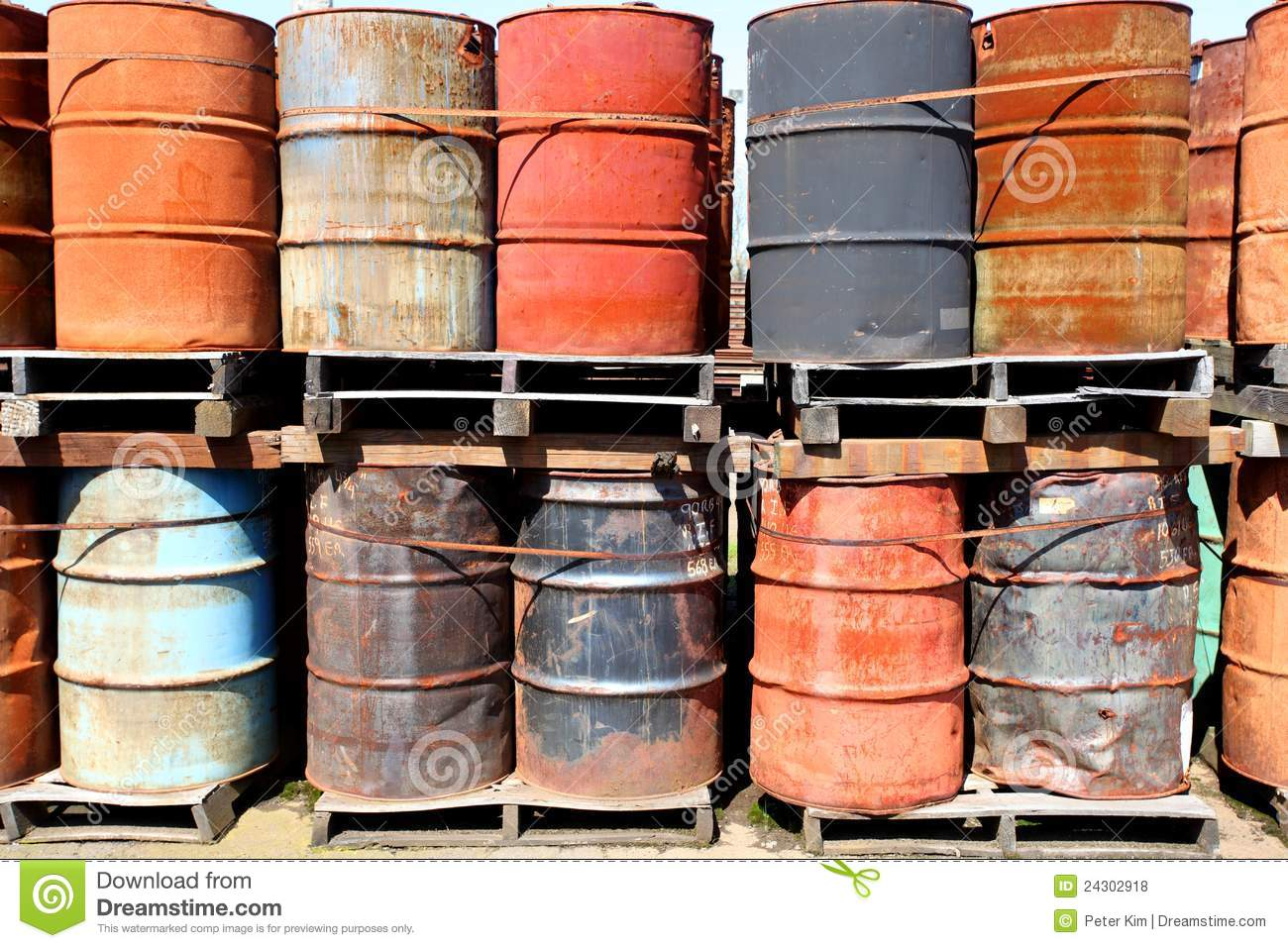 Weathered Oil Drums Stock Photo Image Of Storage Barrel