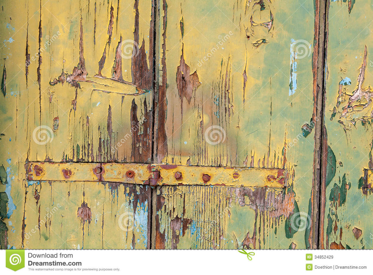 Weathered Painted Panels With Rusty Hinges Stock Image