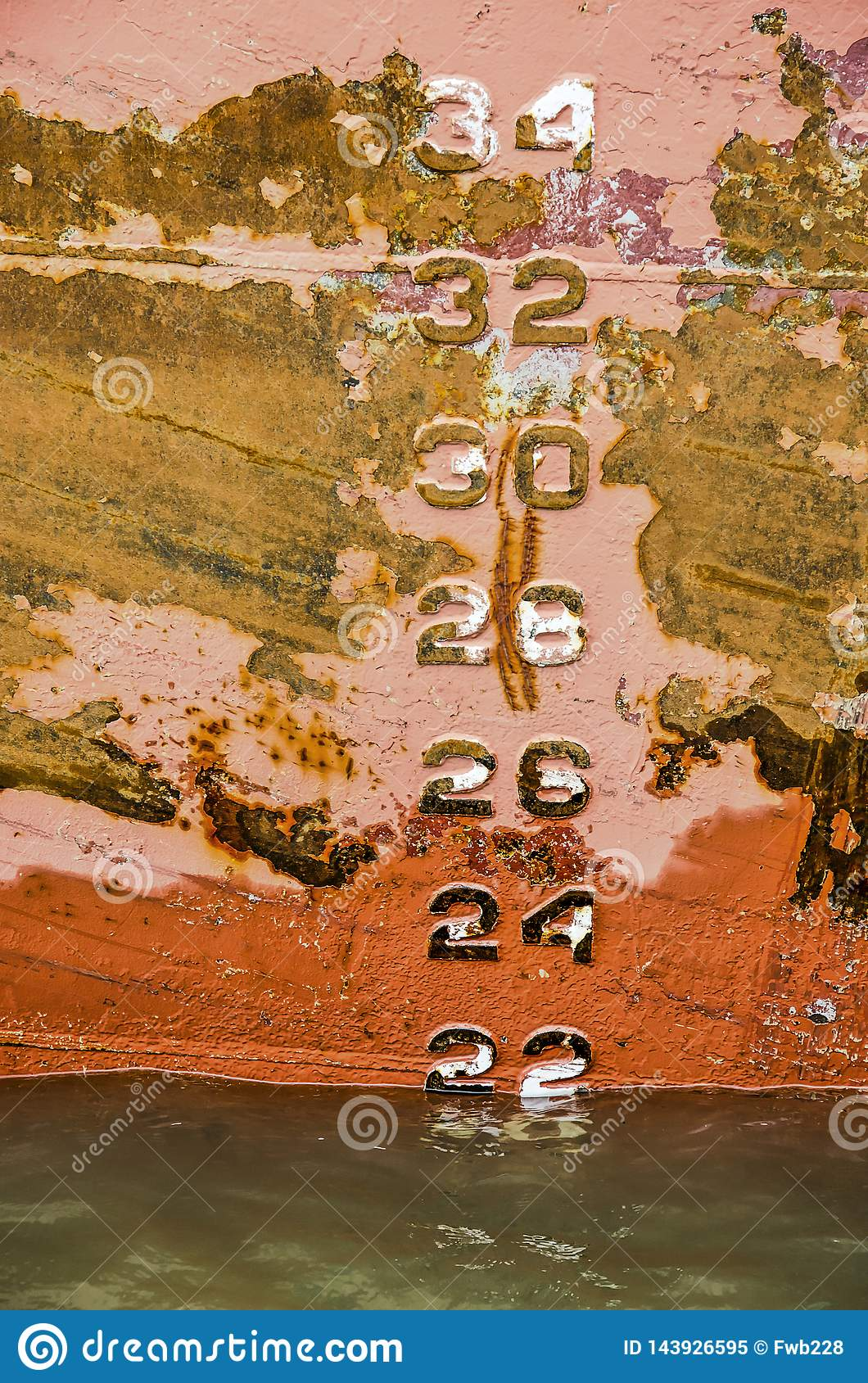 Draught numbers on a rusty ship`s hull