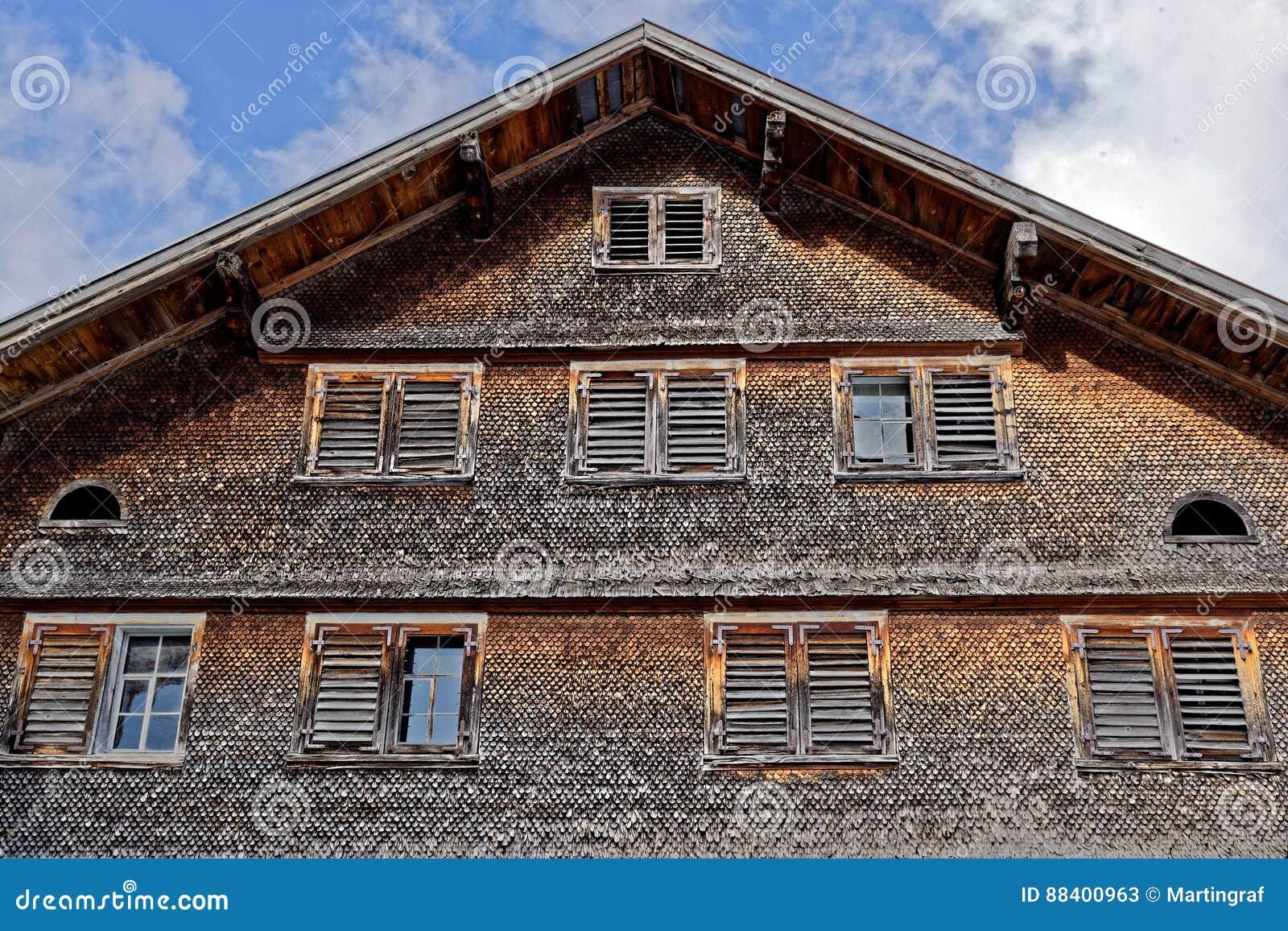 Weathered shingle house facade