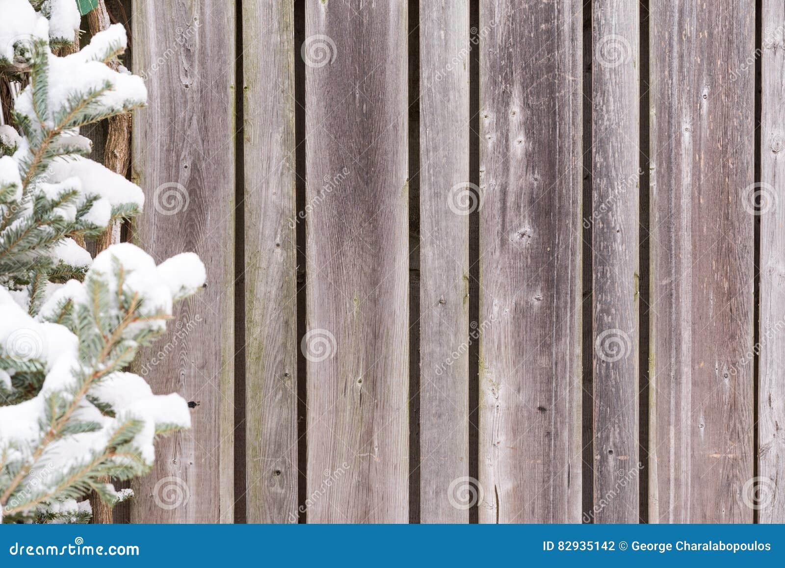 Weathered Wood Fence Winter Background Stock Photo Image Of
