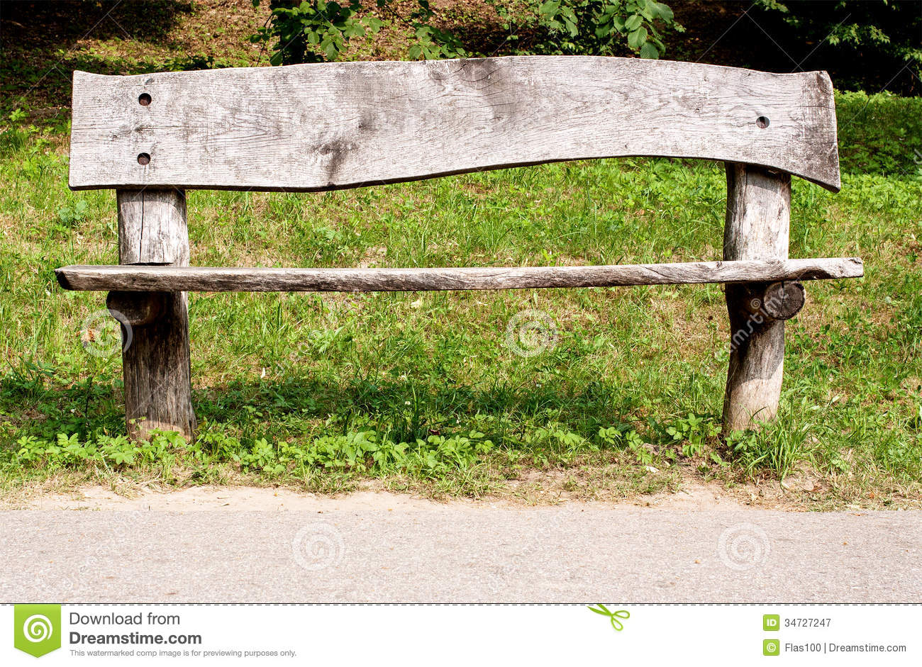 Wooden Park Benches ~ Weathered wooden park bench stock image
