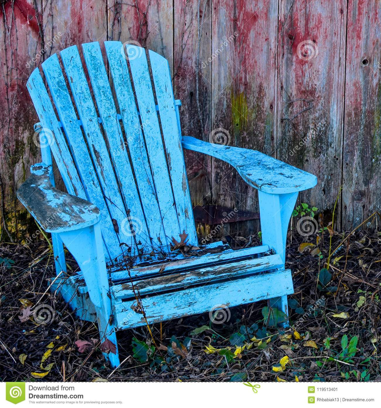 Teal Adirondack Chair Red Weathered Background Stock Image Image
