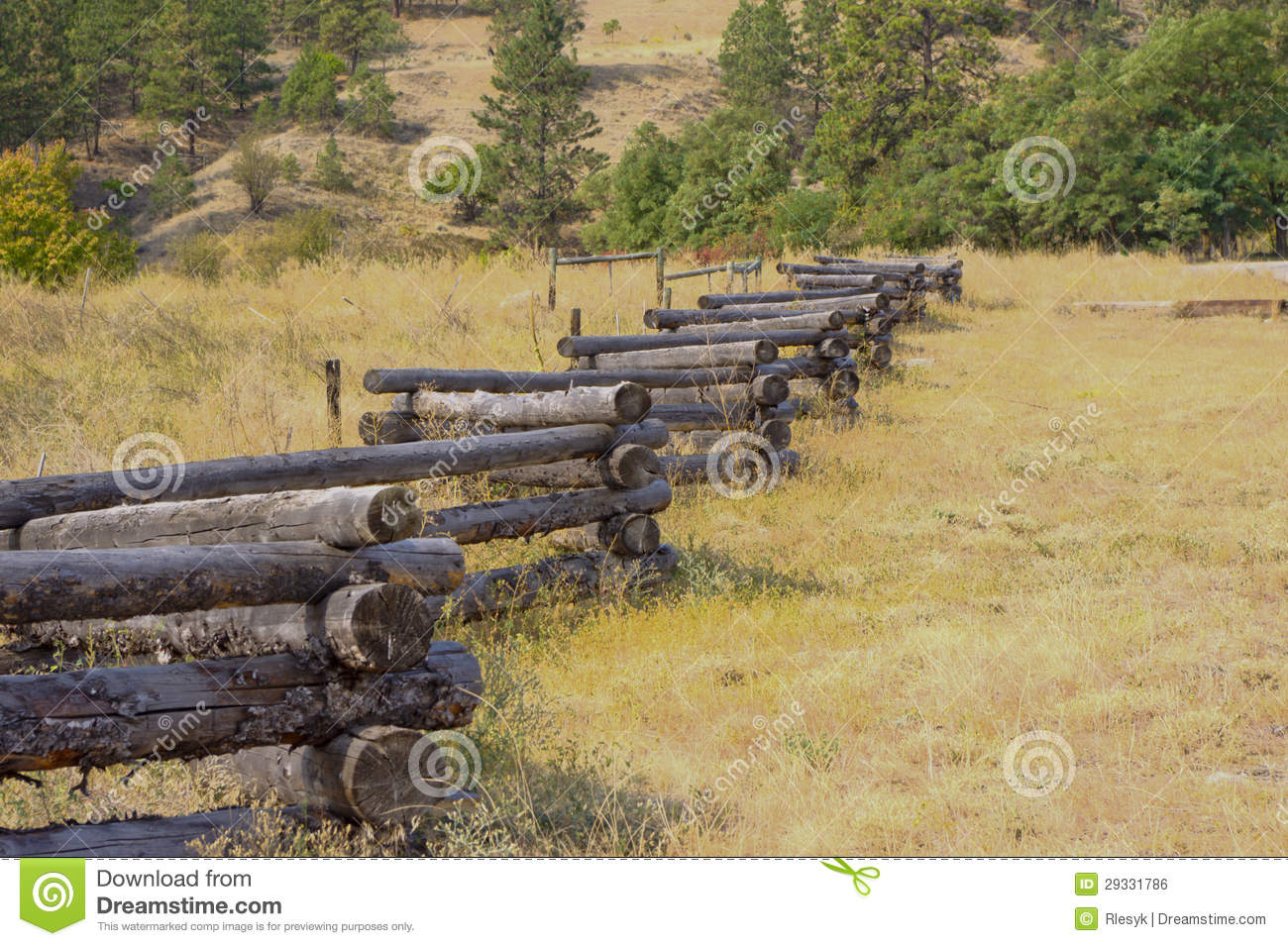 Weathered zig zag log fence royalty free stock image