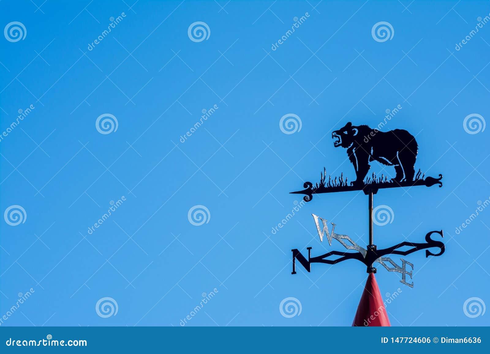Weathervane bajo la forma de oso Lado del mundo contra el cielo