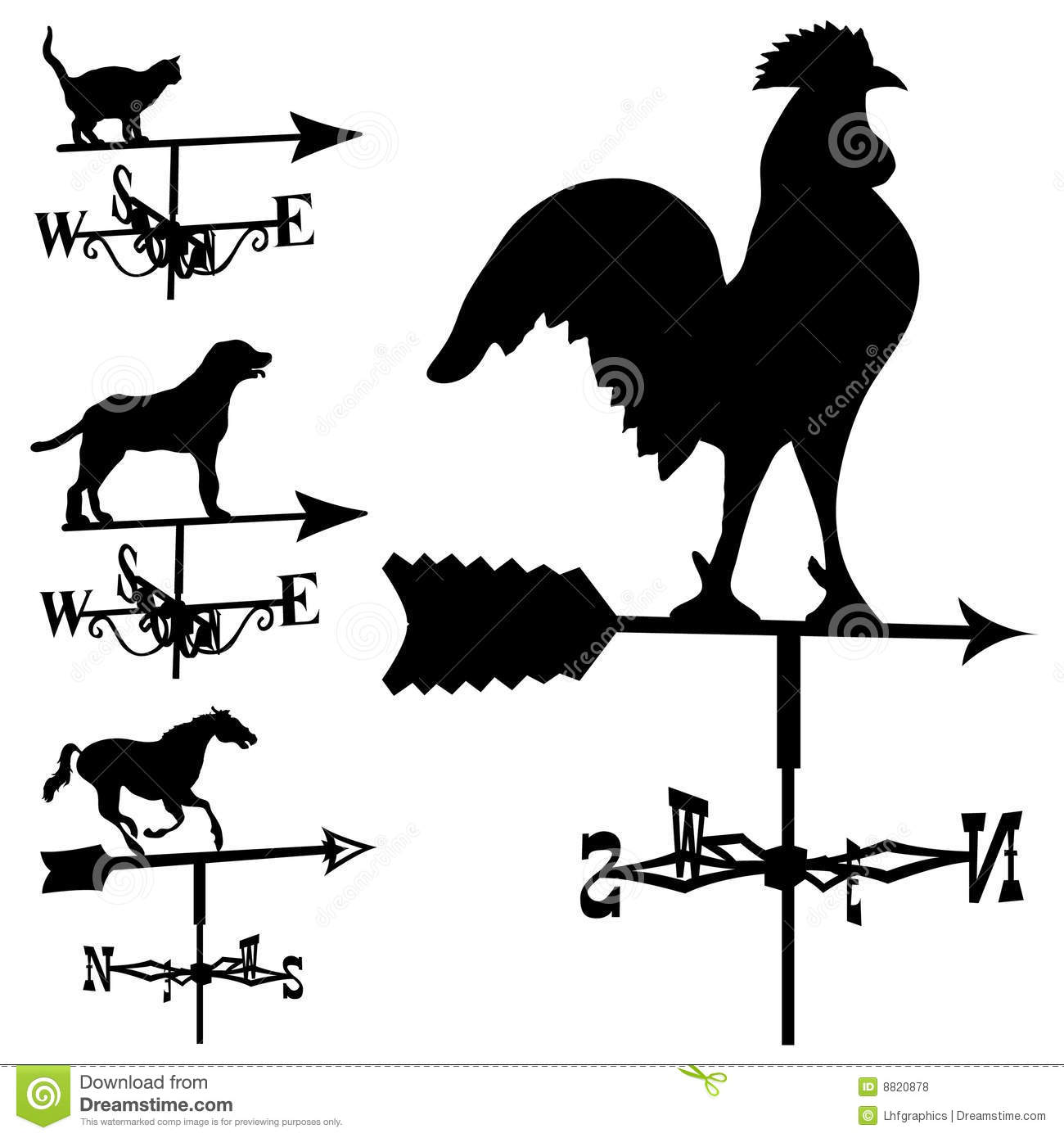 Set of weathervanes including rooster dog horse and cat in vector