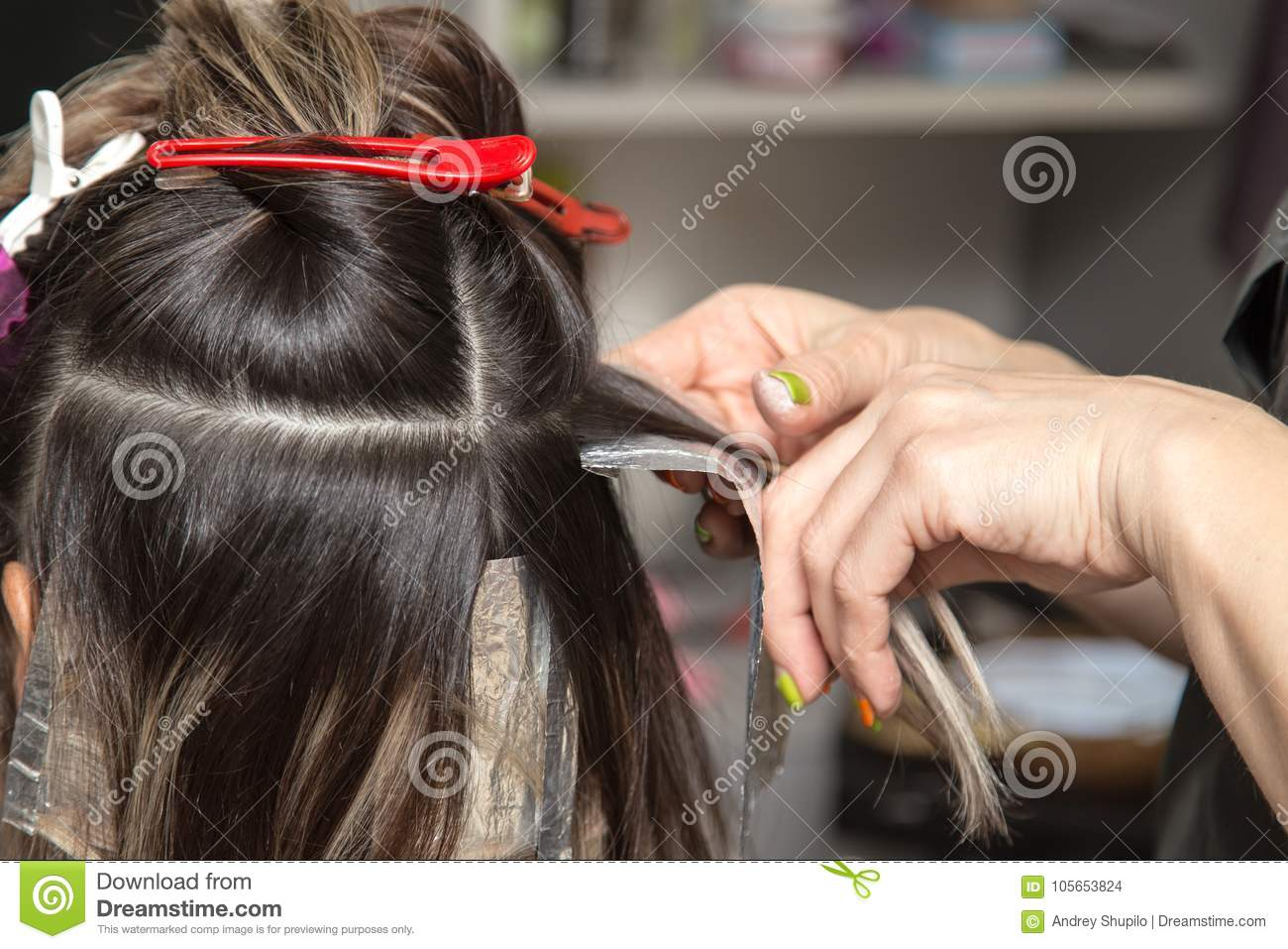 Weave Hair In A Beauty Salon Stock Photo Image Of Tool Stylist