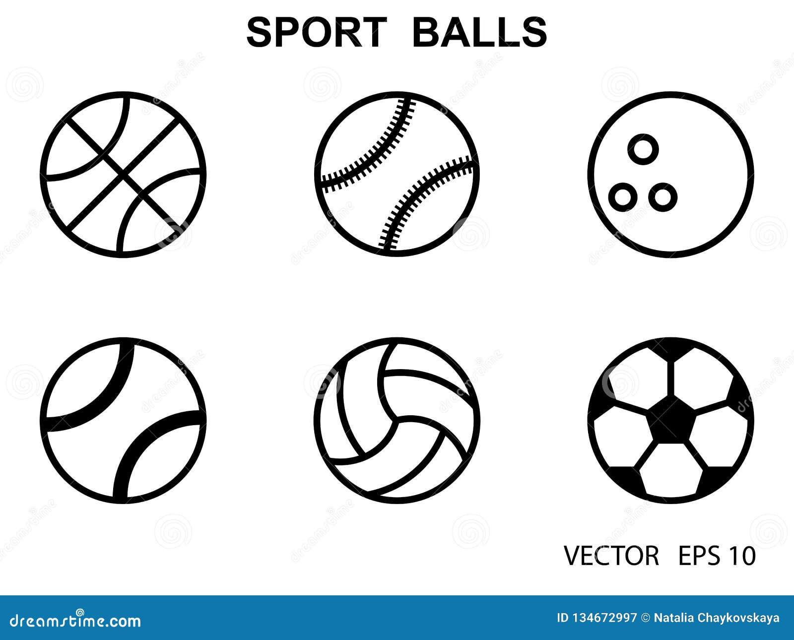 Set Of Black And White Sports Balls Vector Illustration Flat Style Stock Illustration Illustration Of Labels Football 134672997