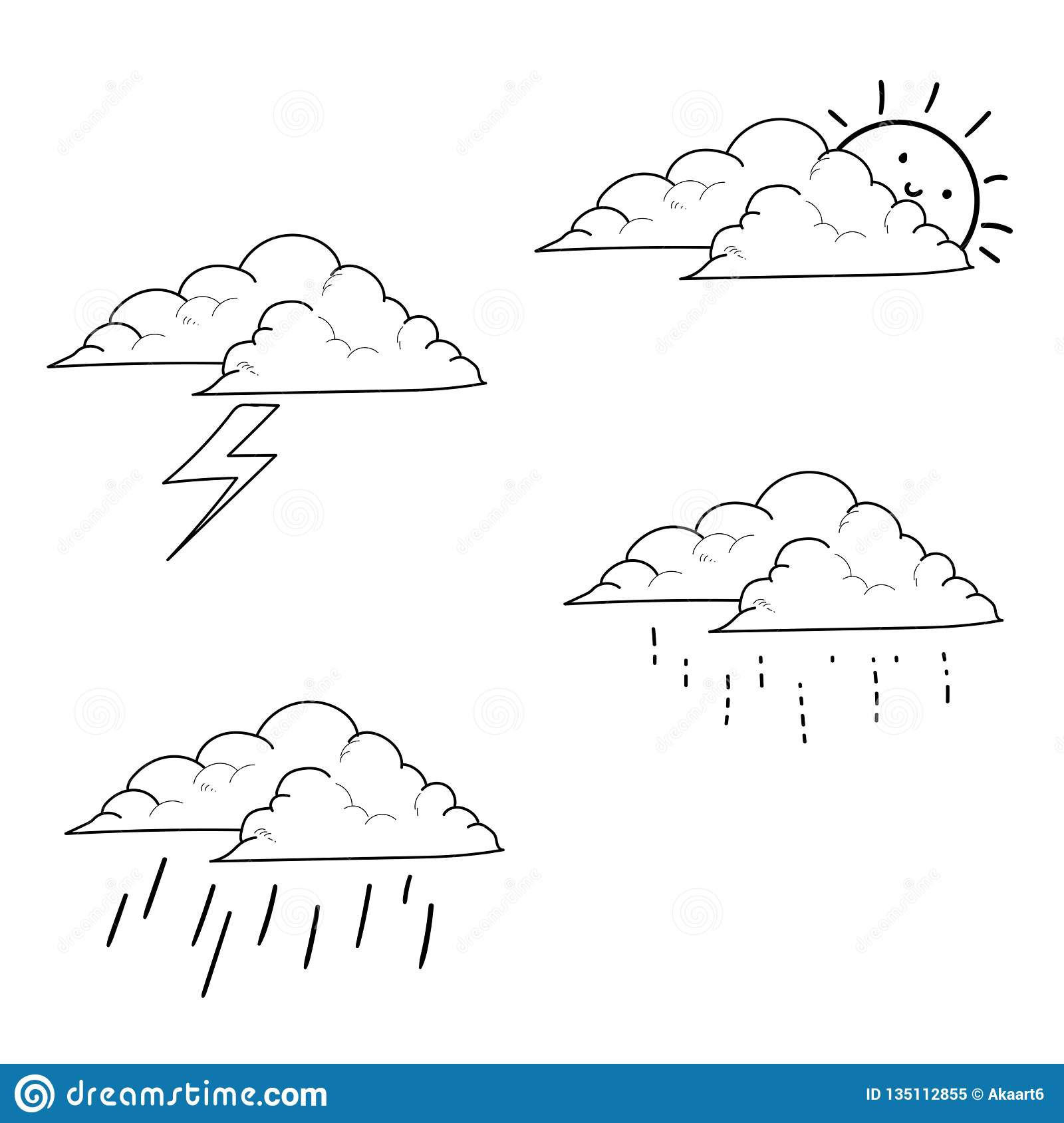 Weather icons set hand drawn
