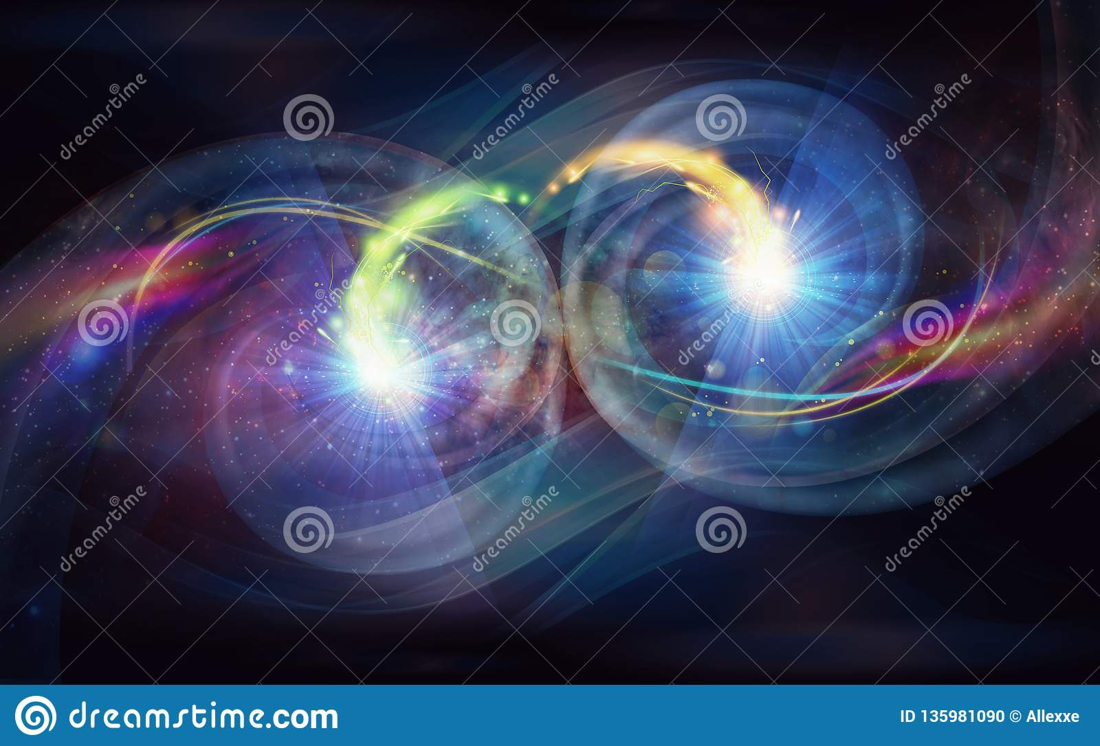 Yin Yang abstract colorful symbol in cosmic space wallpaper