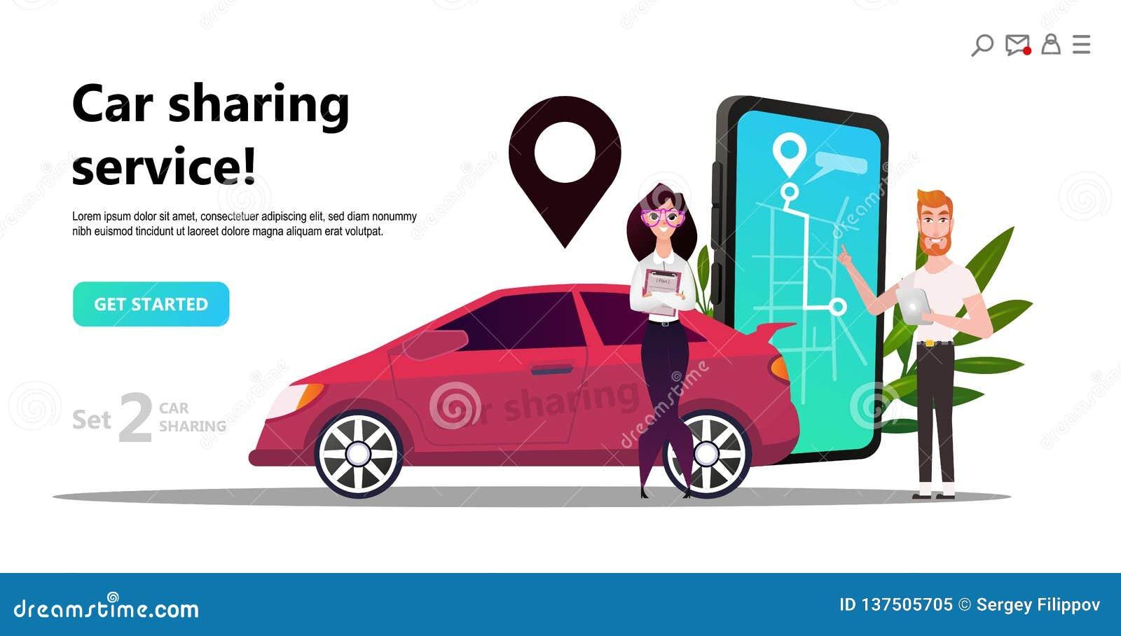 Mobile City Transportation Concept Online Car Sharing Stock Vector