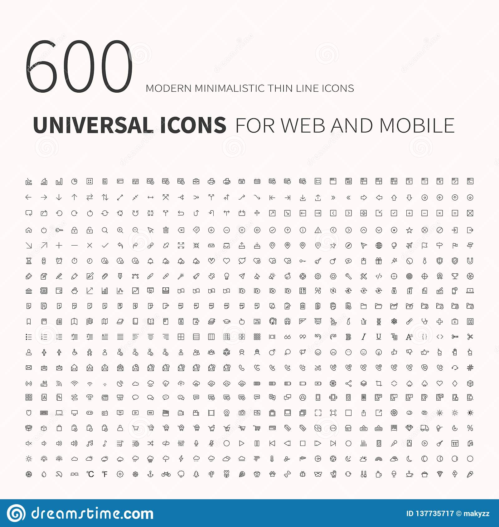 600 simple outline flat icons. Set of universal icons for website and mobile. Flat vector