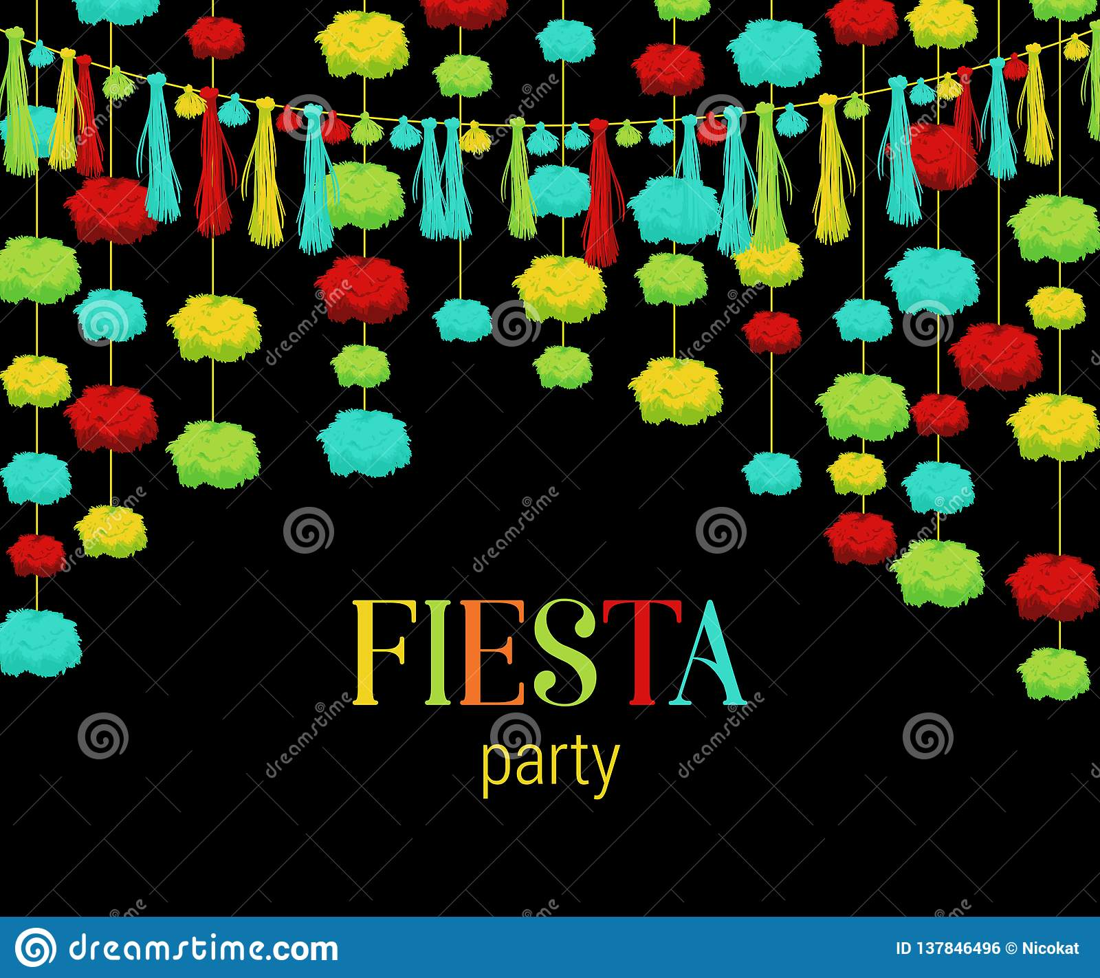 Fiesta Party Festive Background With Paper Pompons And Tassels Garland Design Template For Invitation Greeting Card Banner Pr Stock Vector Illustration Of Graphic Border 137846496
