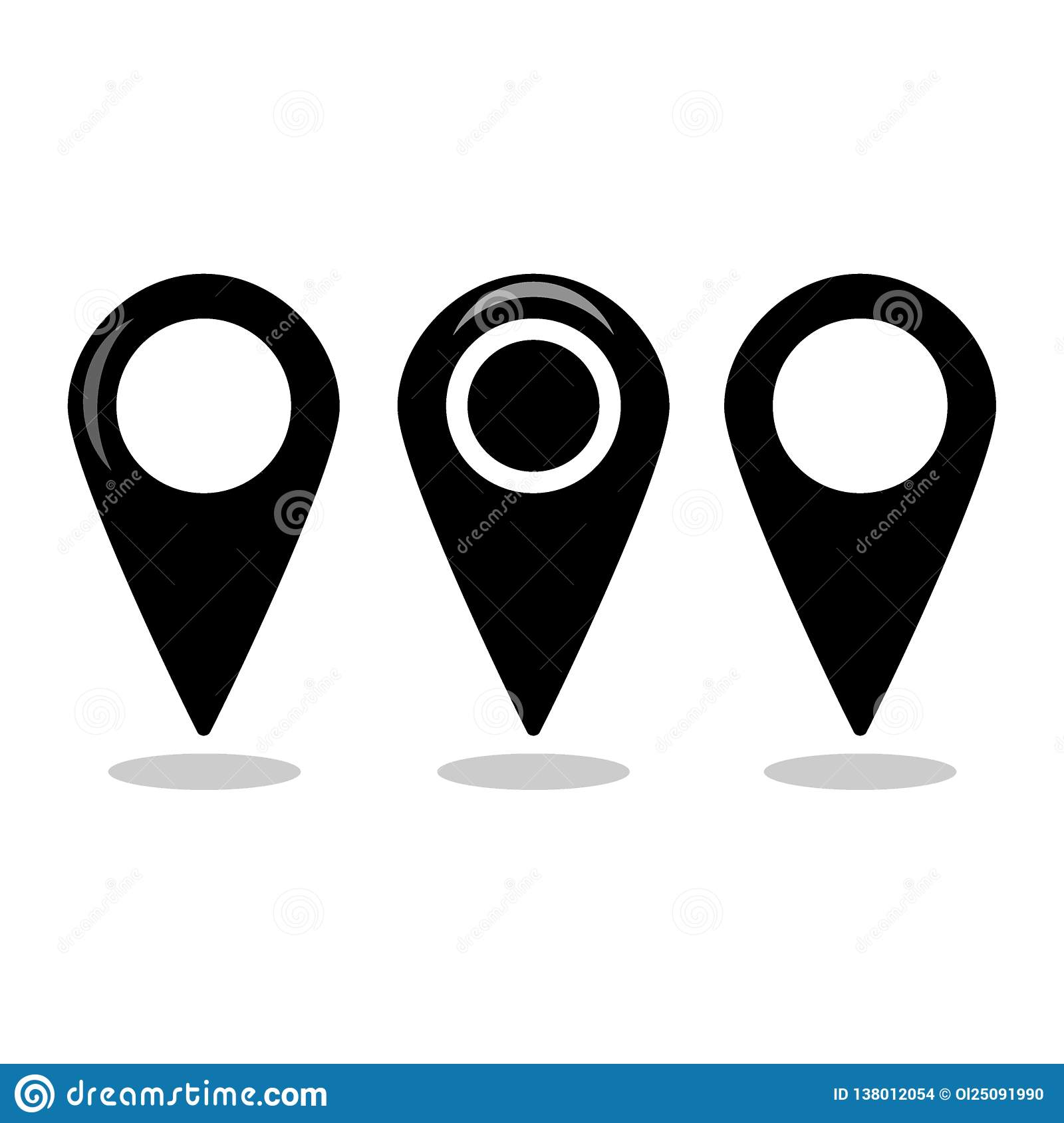 Location map icon set, gps pointer mark collection - Vector