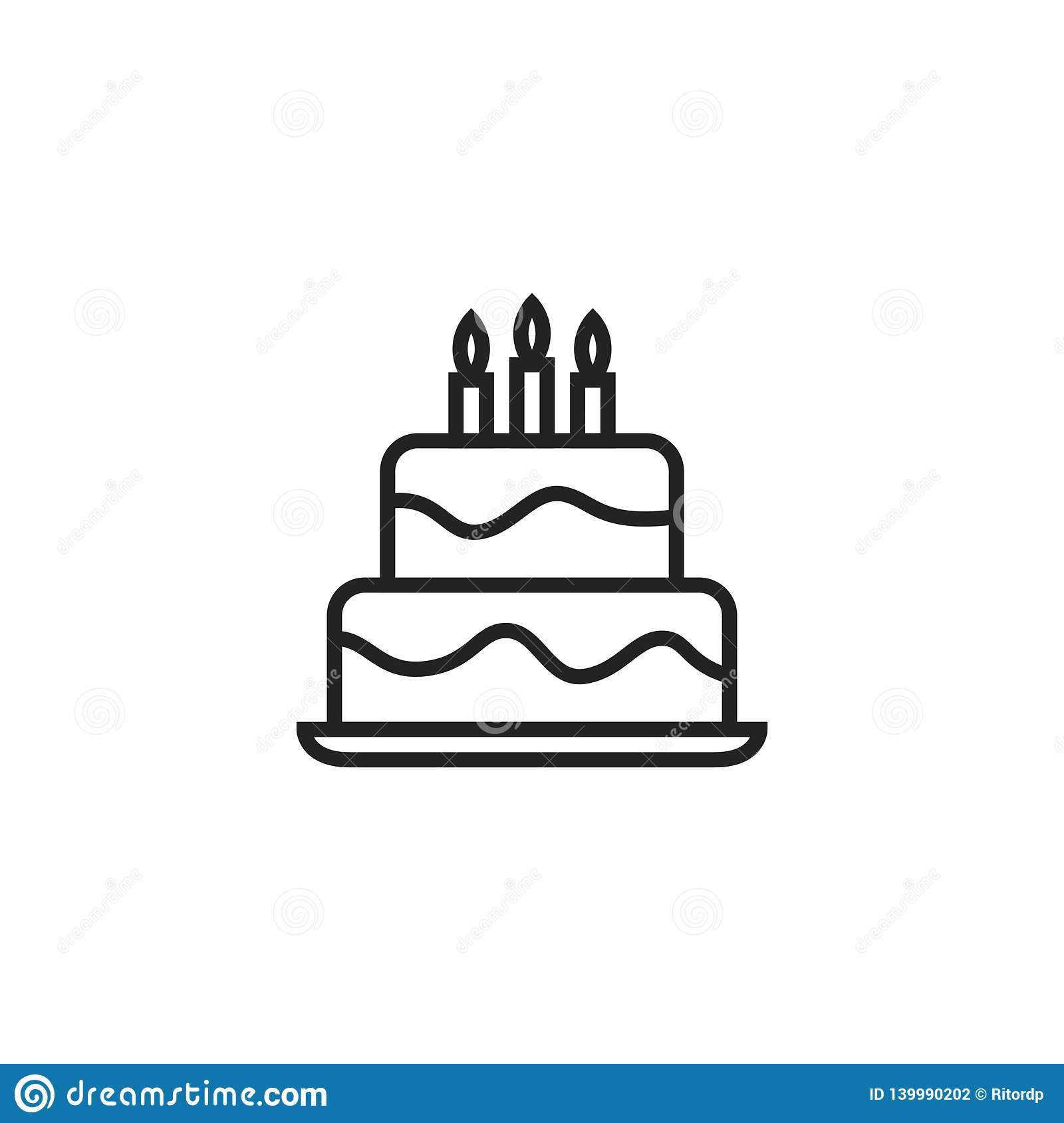 Birthday Cake Oultine Vector Icon, Symbol or Logo.