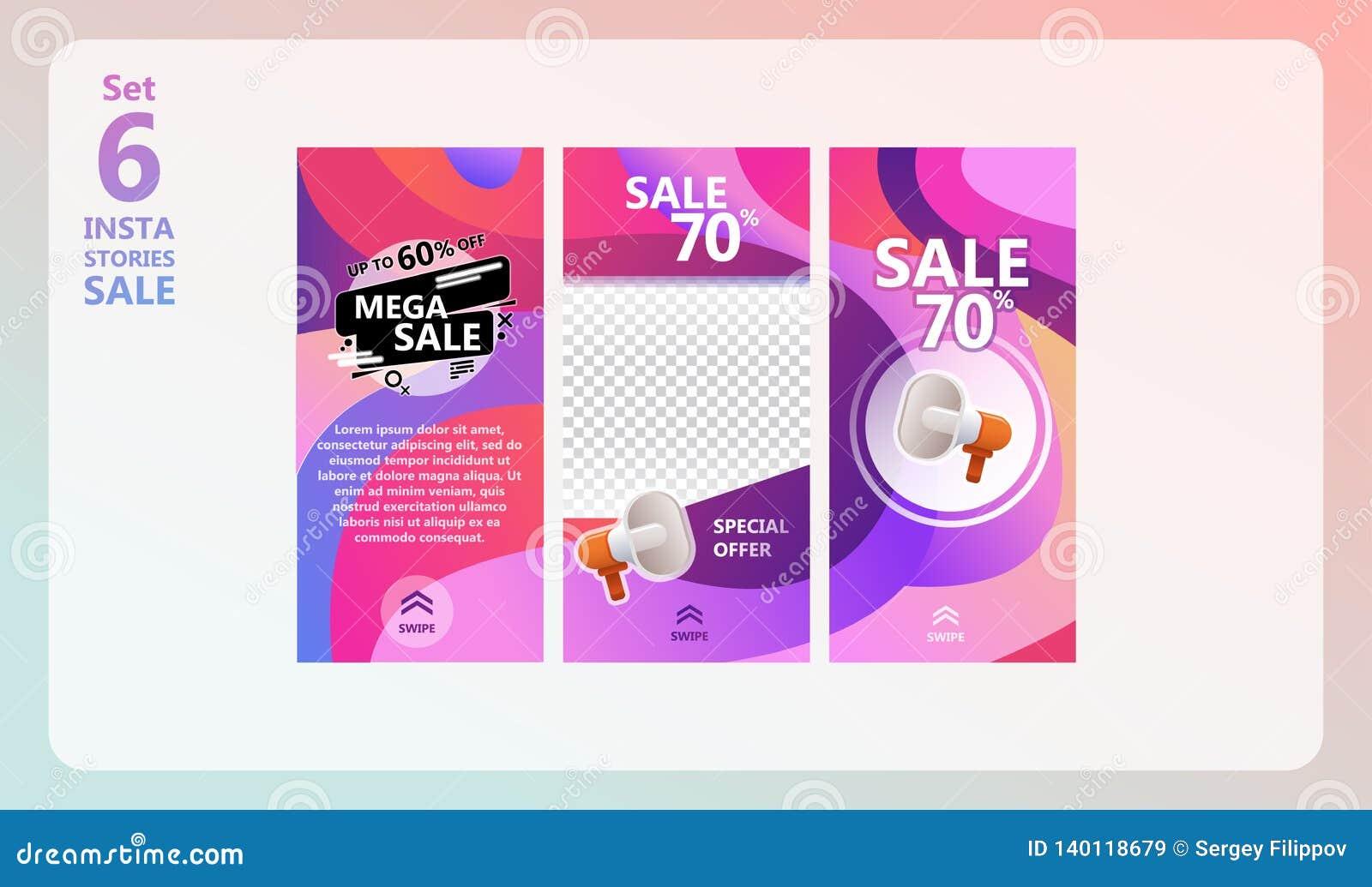 Instagram Stories Sale Set  Stock Vector - Illustration of