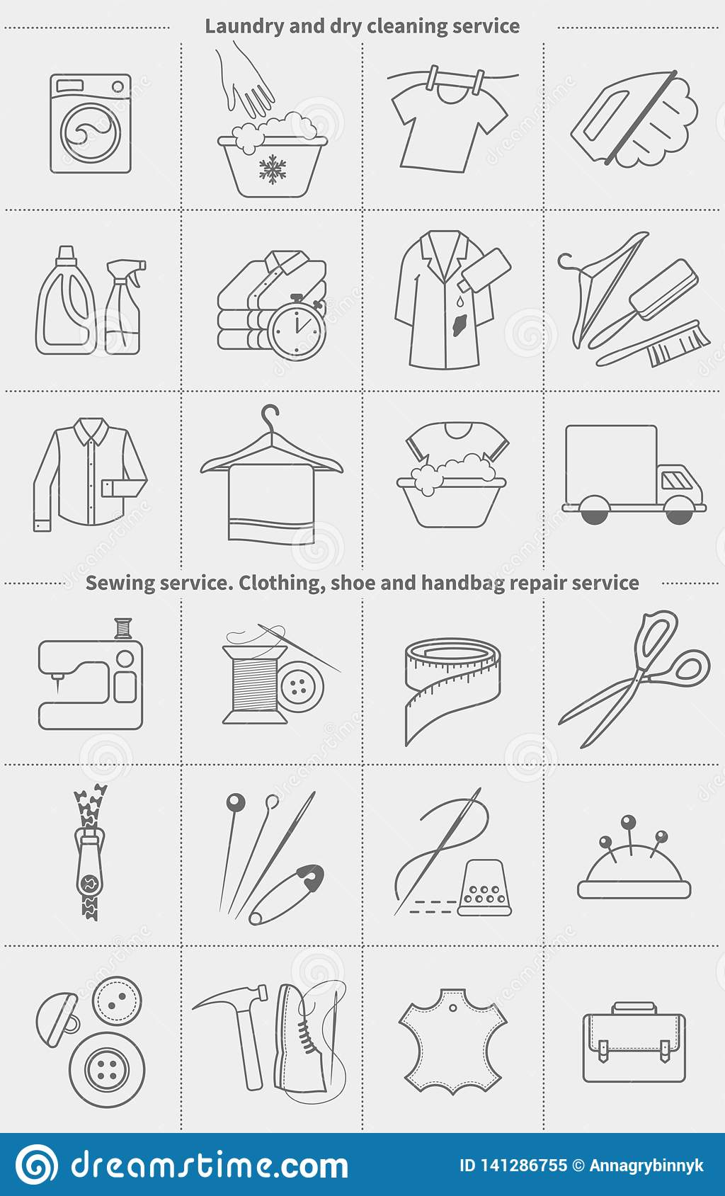 Big set of vector linear icons, labels, logos. Dry cleaning laundry and cloth washing, sewing, clothing repair service