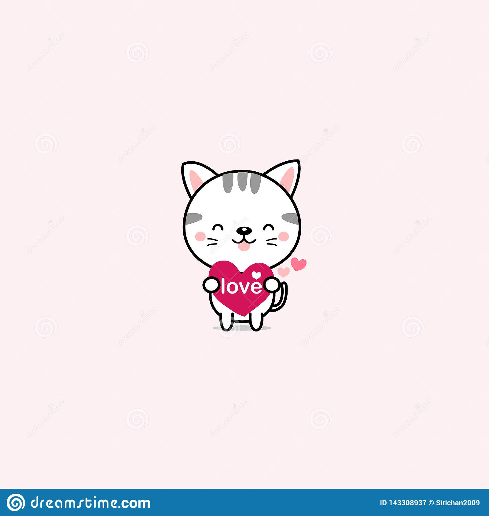Little cat with pink hearts.