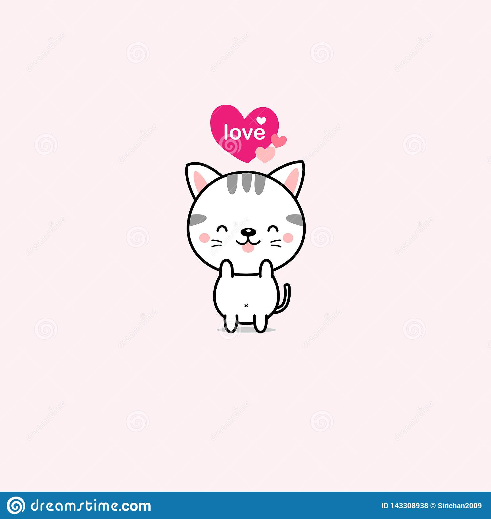 Little cat with pink hearts. vector illustration.