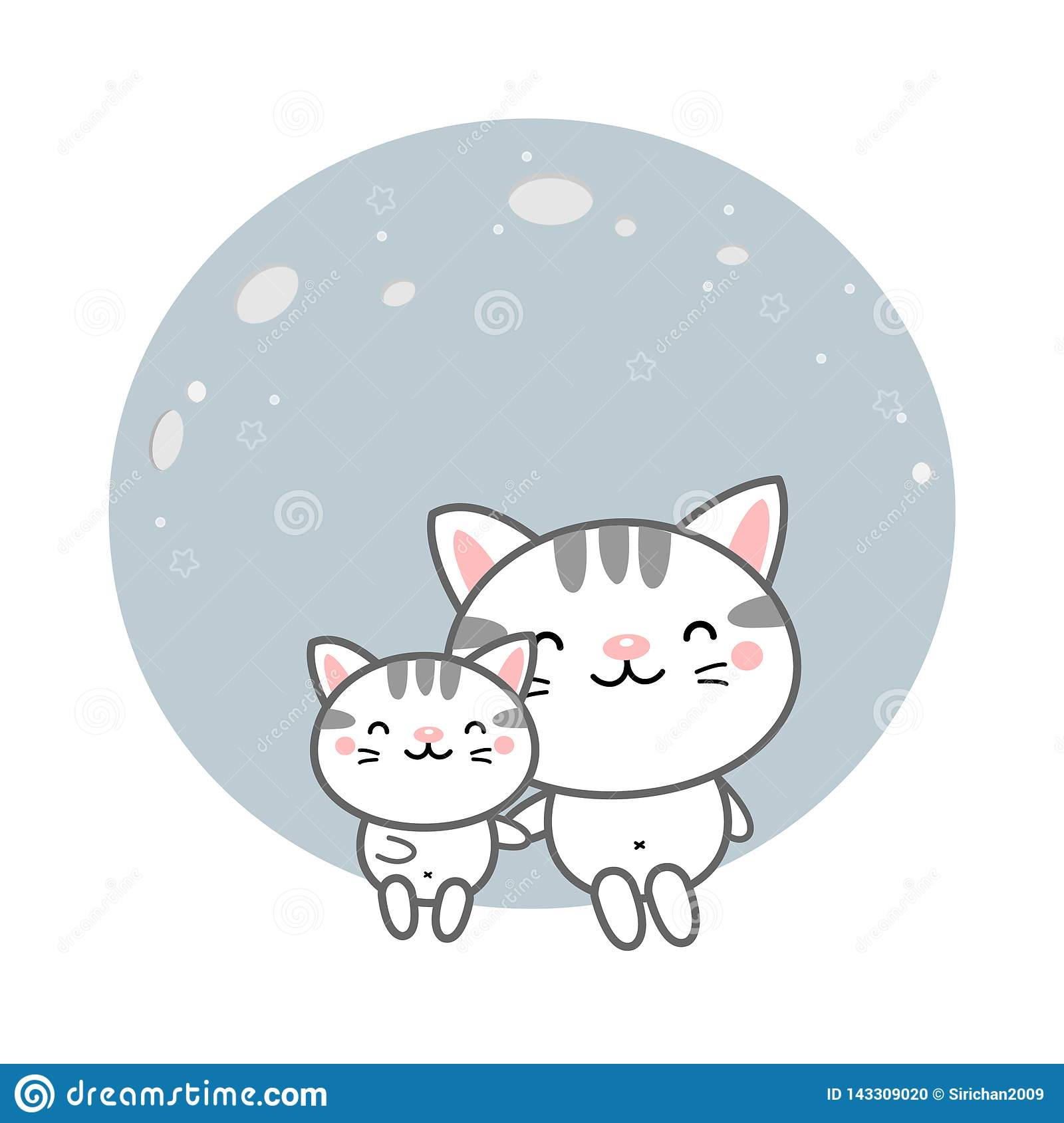 Cute cats sit on the moon.