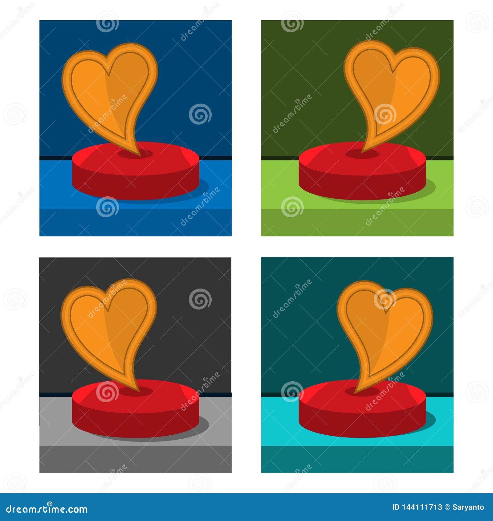 Love icon on the circle, stock icon
