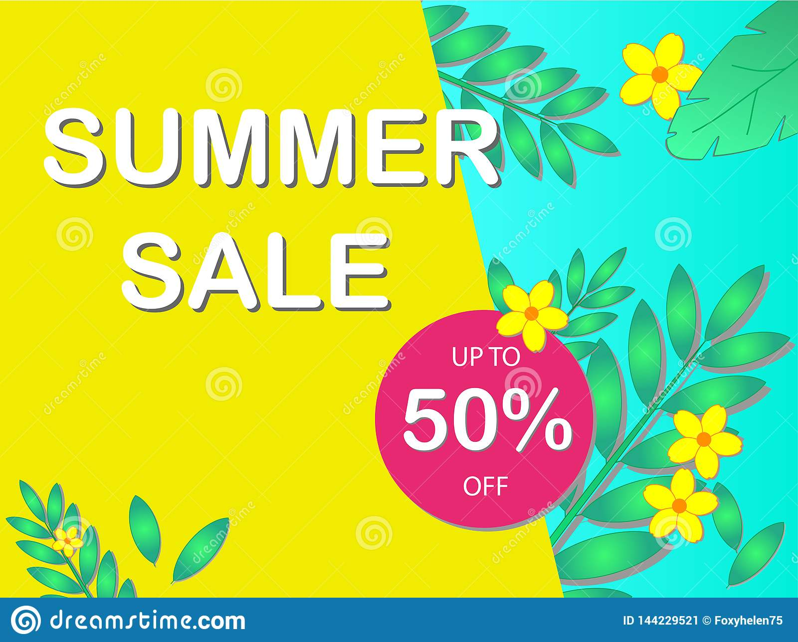 Sale concept banner with the text `Summer Sale` and discount percentage