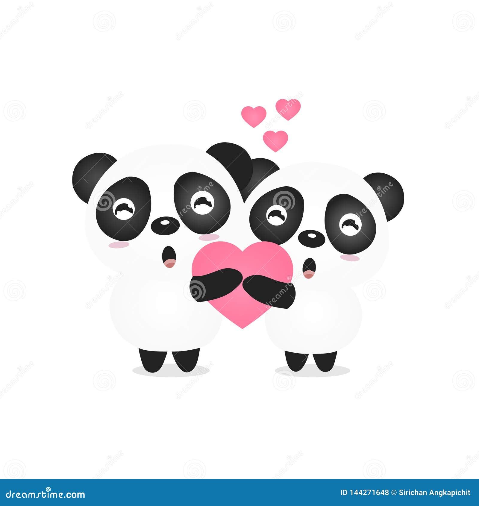 Valentine illustration of a cute couple panda holding heart.