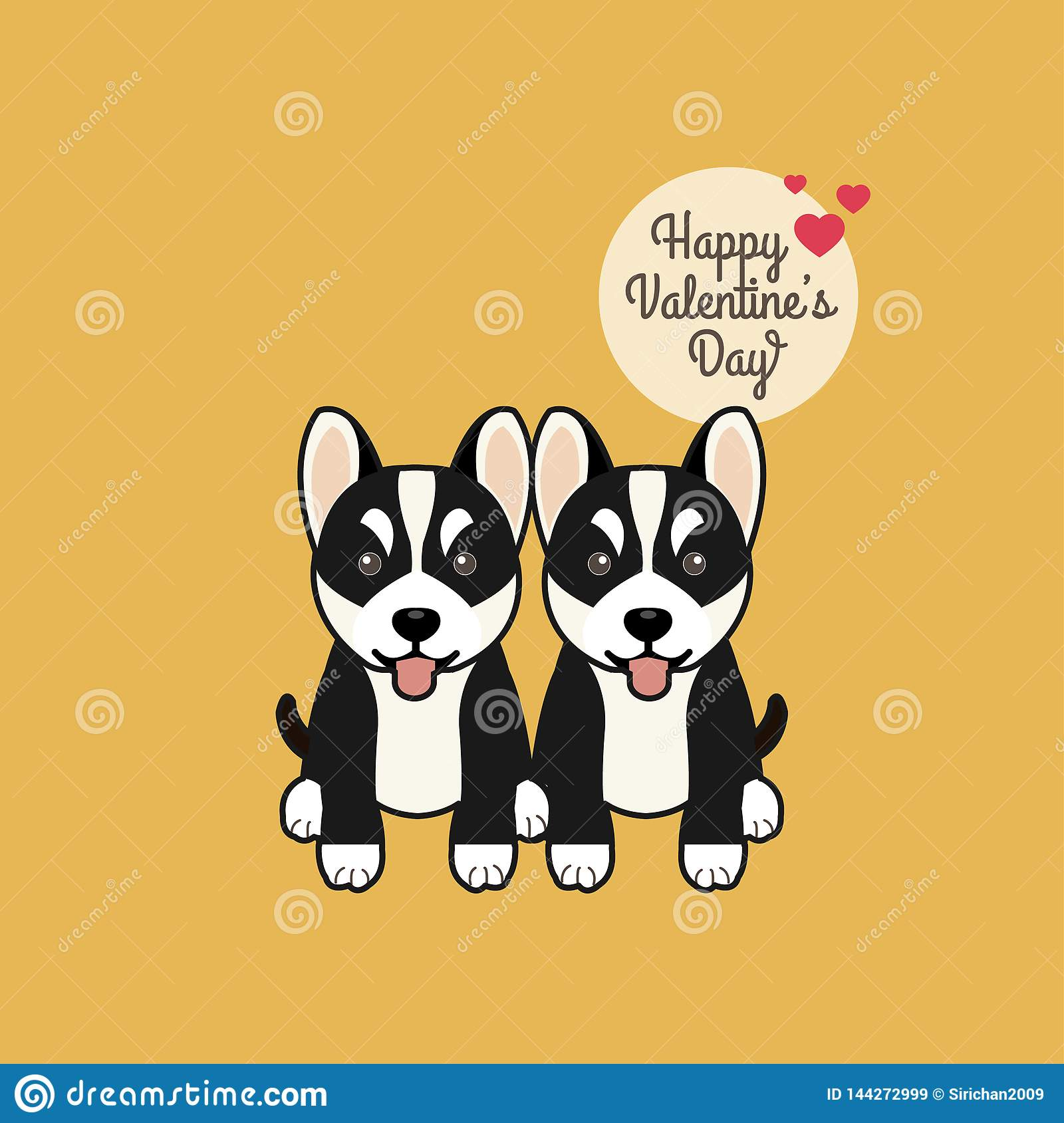 Valentines day greeting card. Cute sitting Siberian Husky  dogs with tongue outside.