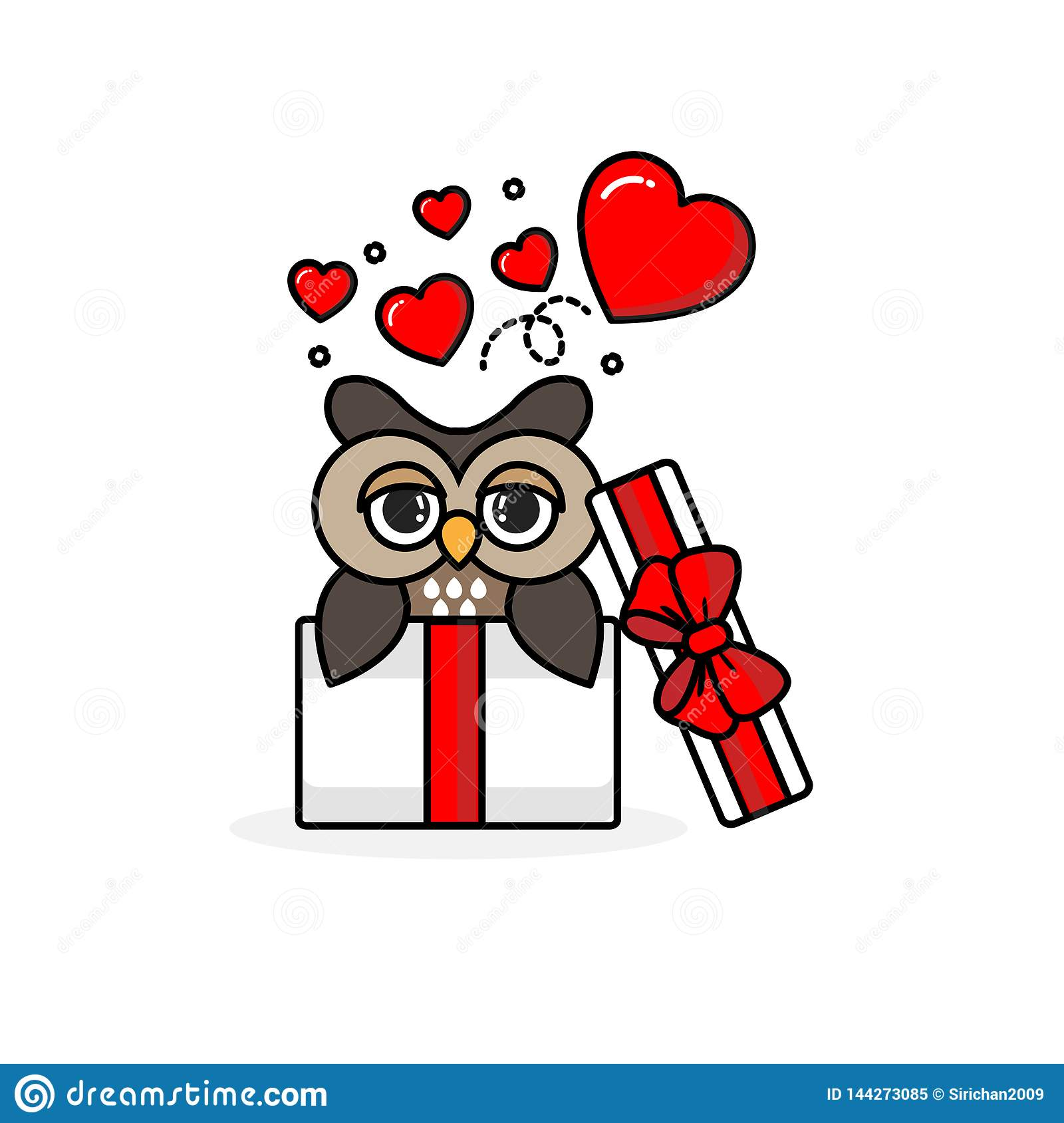 Happy owl inside the open gift box with fly hearts. Vector illustration