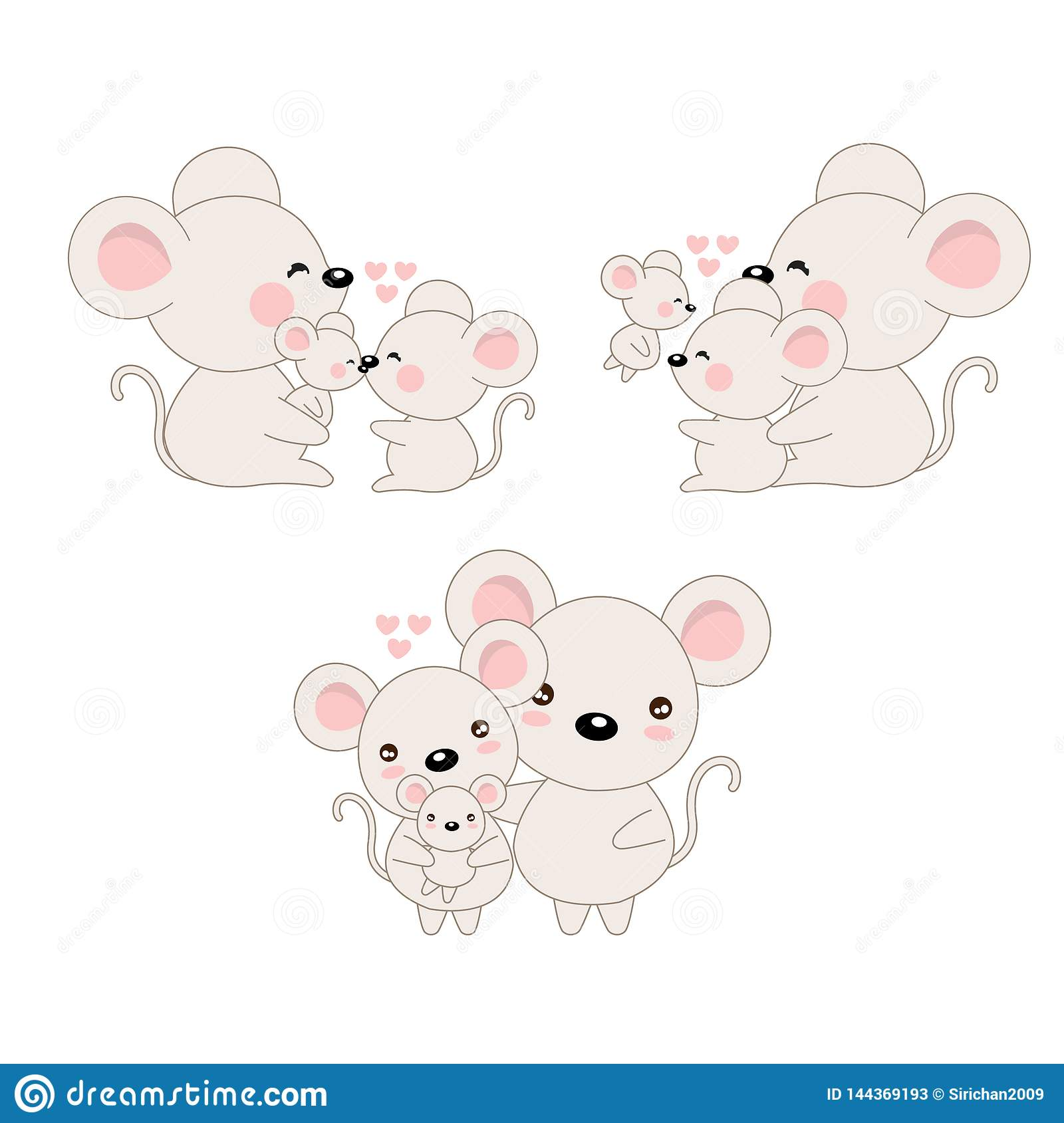 Cute cartoon family mouse and baby.