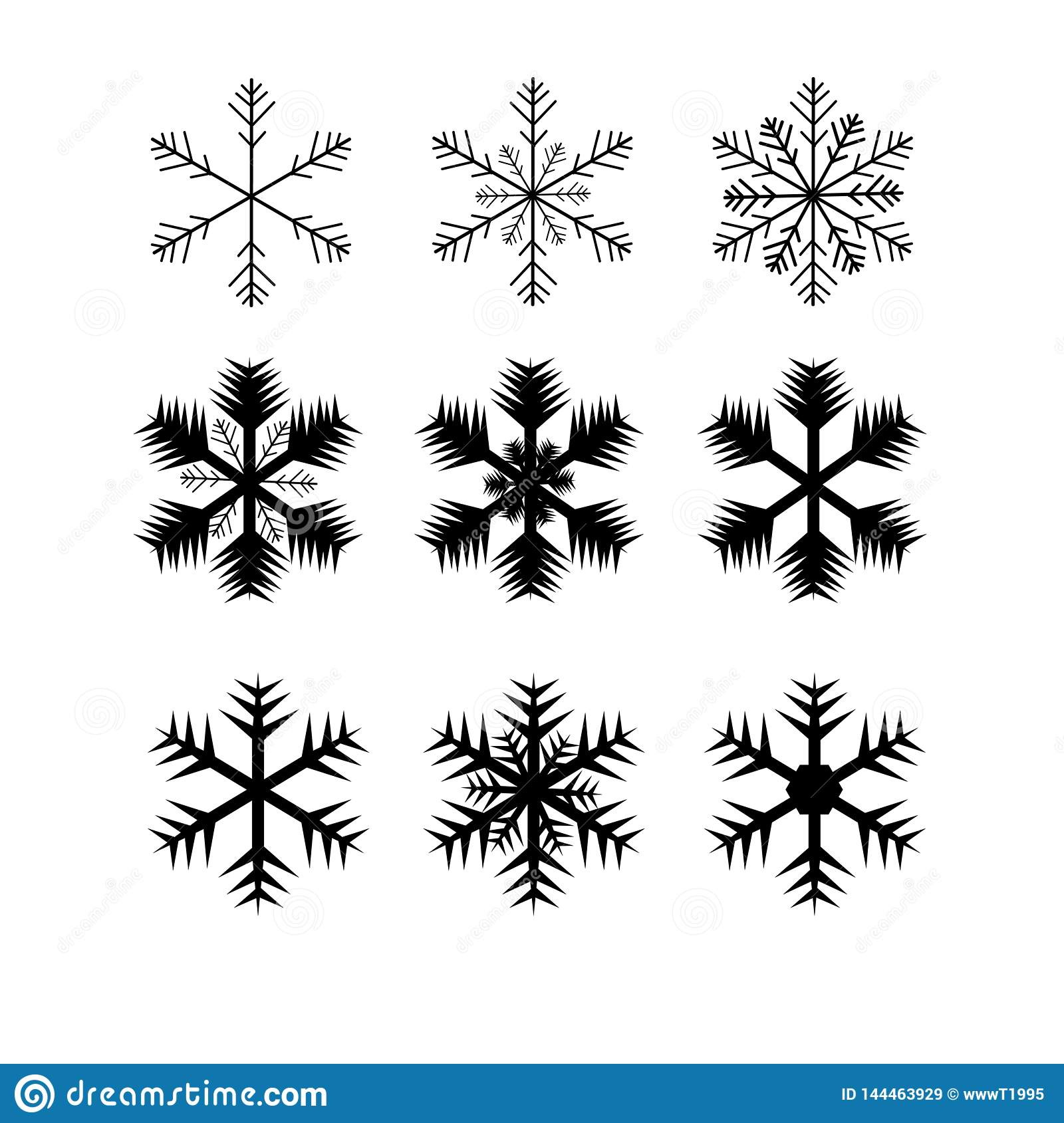 Web. Cute snowflakes collection isolated on gold background. Flat line snow icons, snow flakes silhouette. Nice element for christ