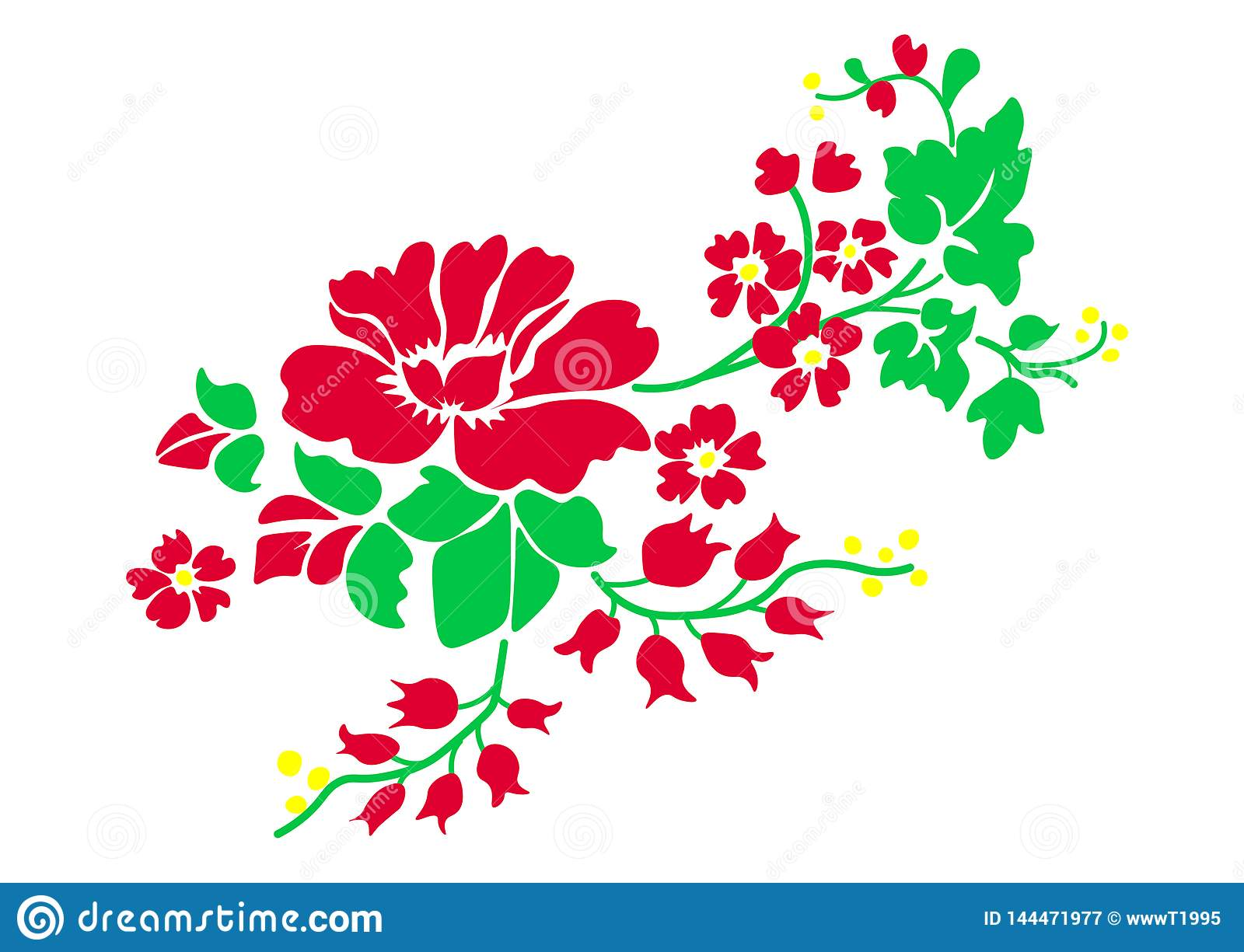 Web. Vector illustration of red roses isolated on white