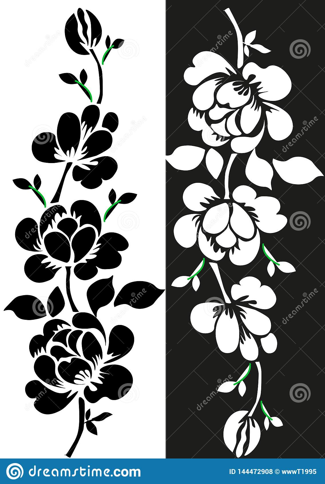 Hand drawn floral seamless pattern with clover silhouettes isolated on white. Cute graphic flower background. Summer concept.