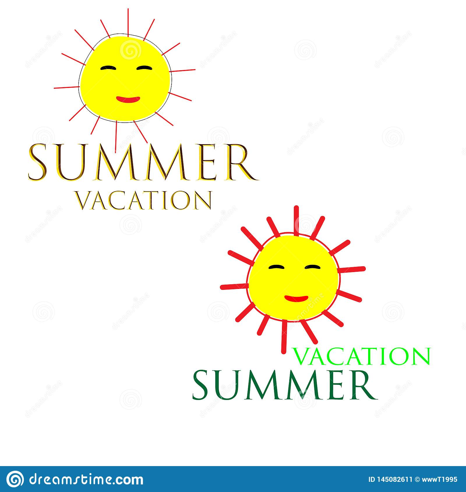 Web. Sea Background with Lettering Hello Summer. Vector