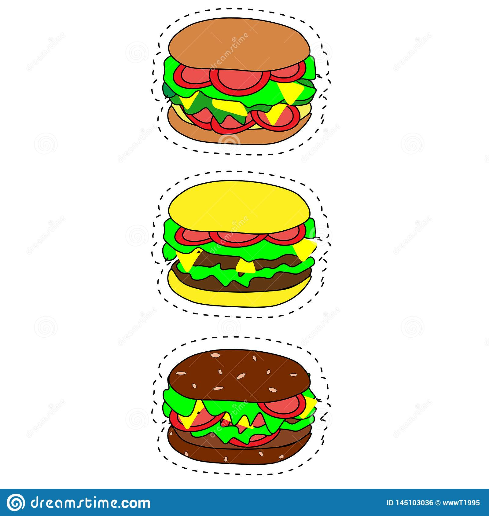 Set of vector fast food icons. Hamburger, cheeseburger, double burger, burger with lettuce, onion, tomato, cucumber and ketchup